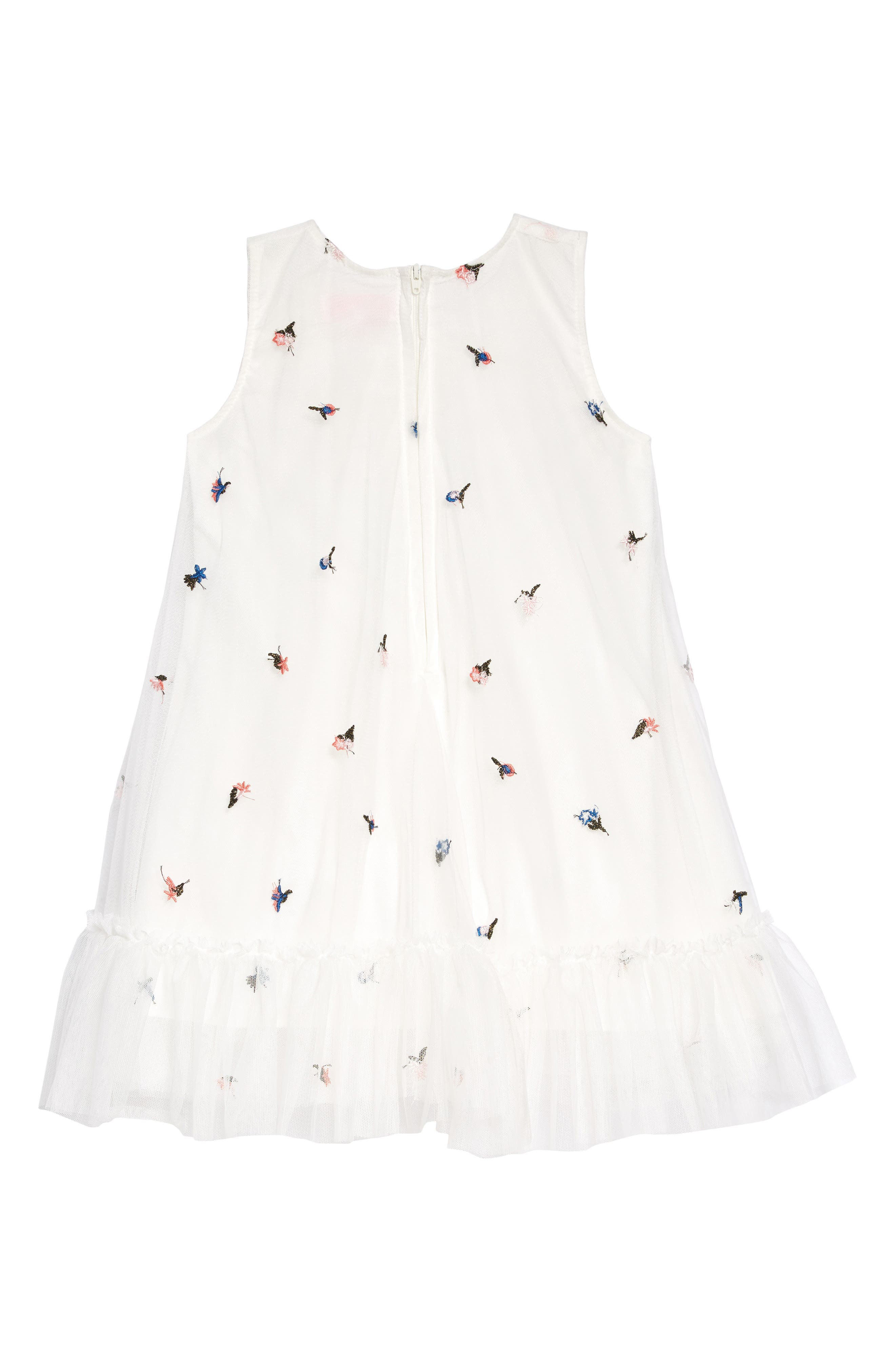 POPATU, Floral Embroidered Tulle Dress, Alternate thumbnail 2, color, WHITE