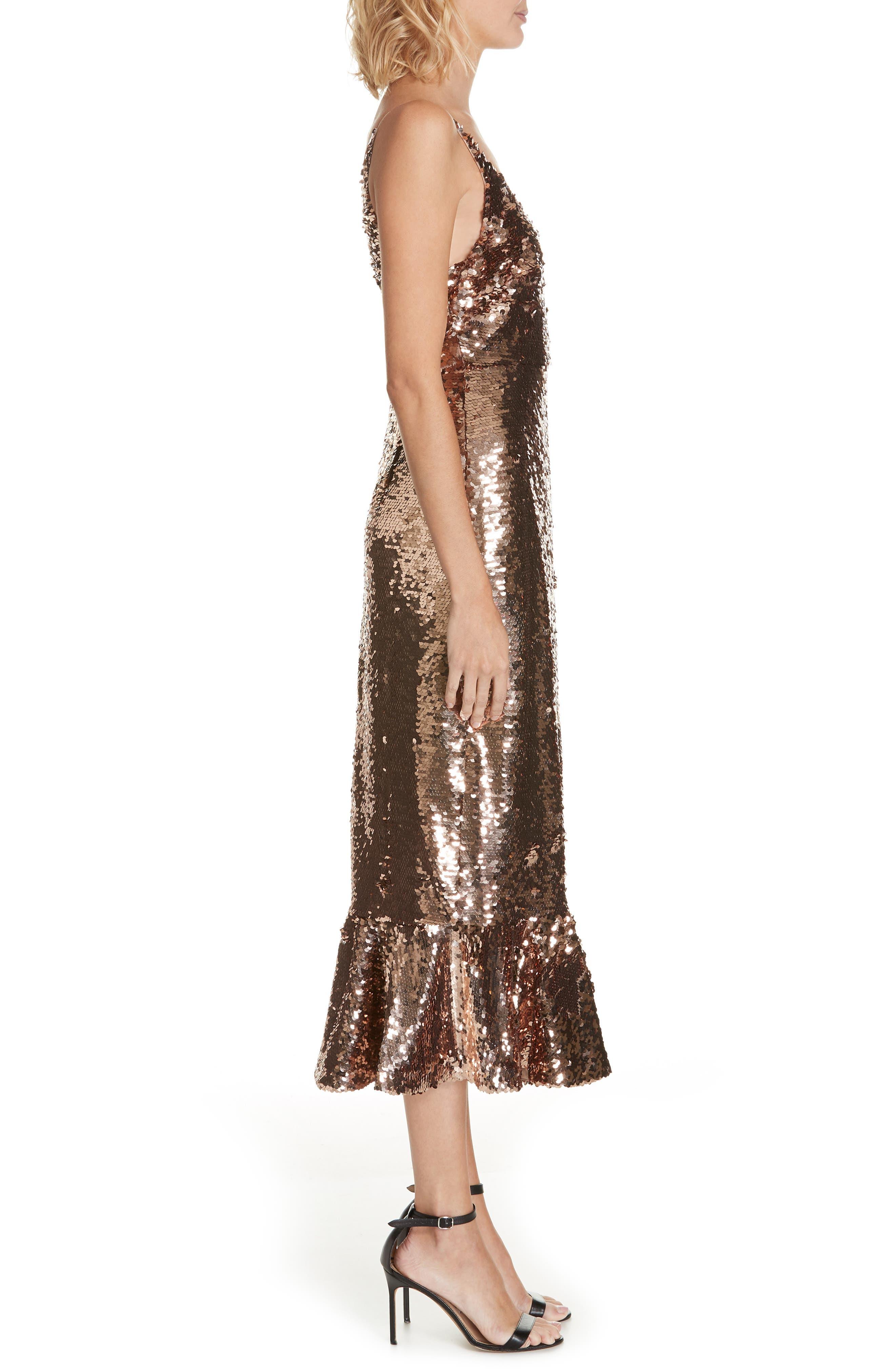 SALONI, Aidan Sequin Ruffle Hem Midi Dress, Alternate thumbnail 4, color, BRONZE