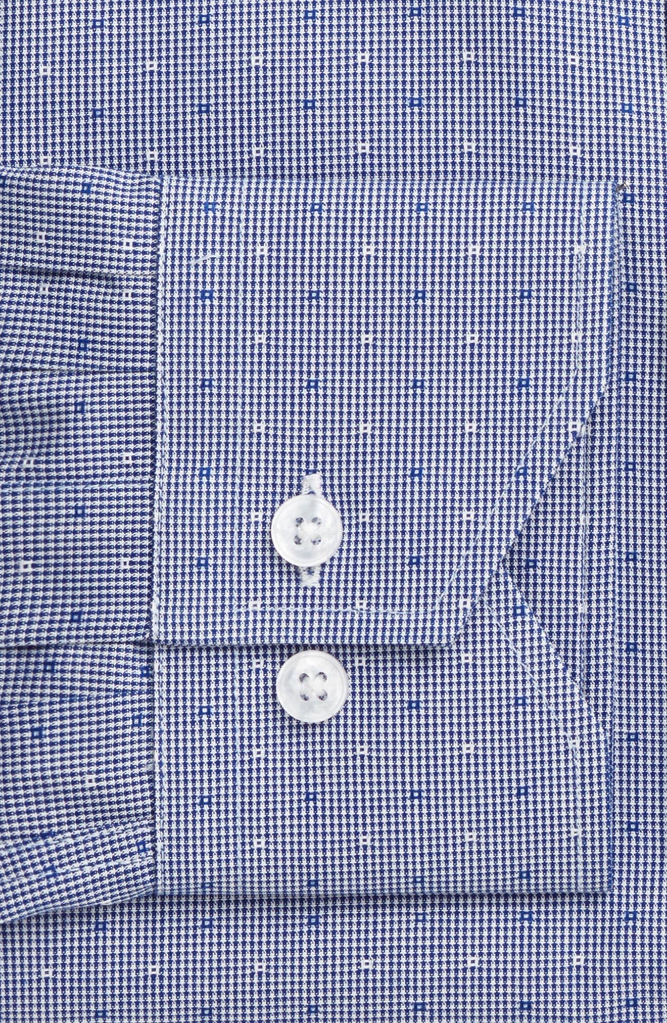 LORENZO UOMO, Trim Fit Check Dress Shirt, Alternate thumbnail 4, color, NAVY