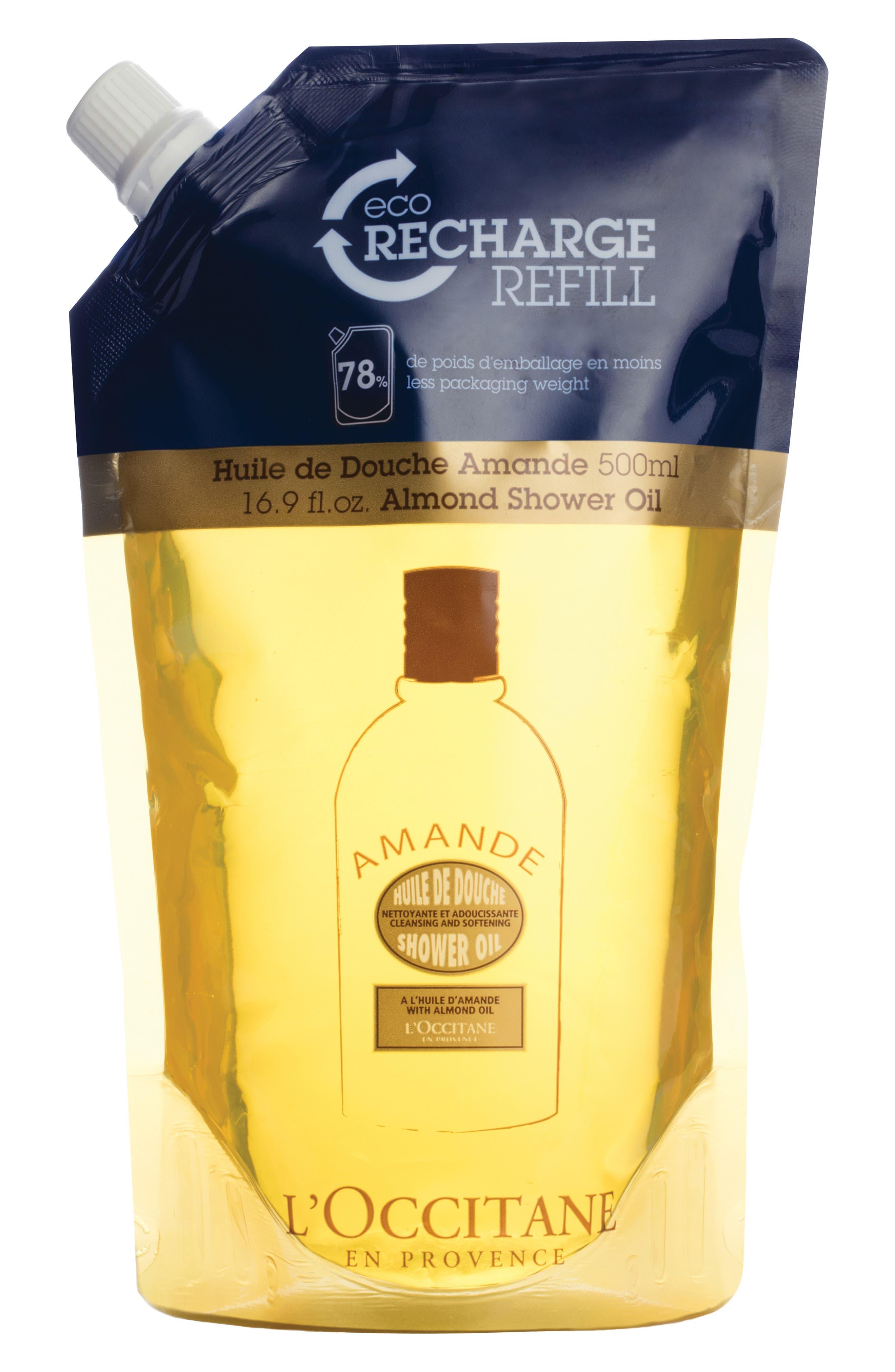 L'OCCITANE, Almond Eco-Refill Shower Oil, Main thumbnail 1, color, NO COLOR