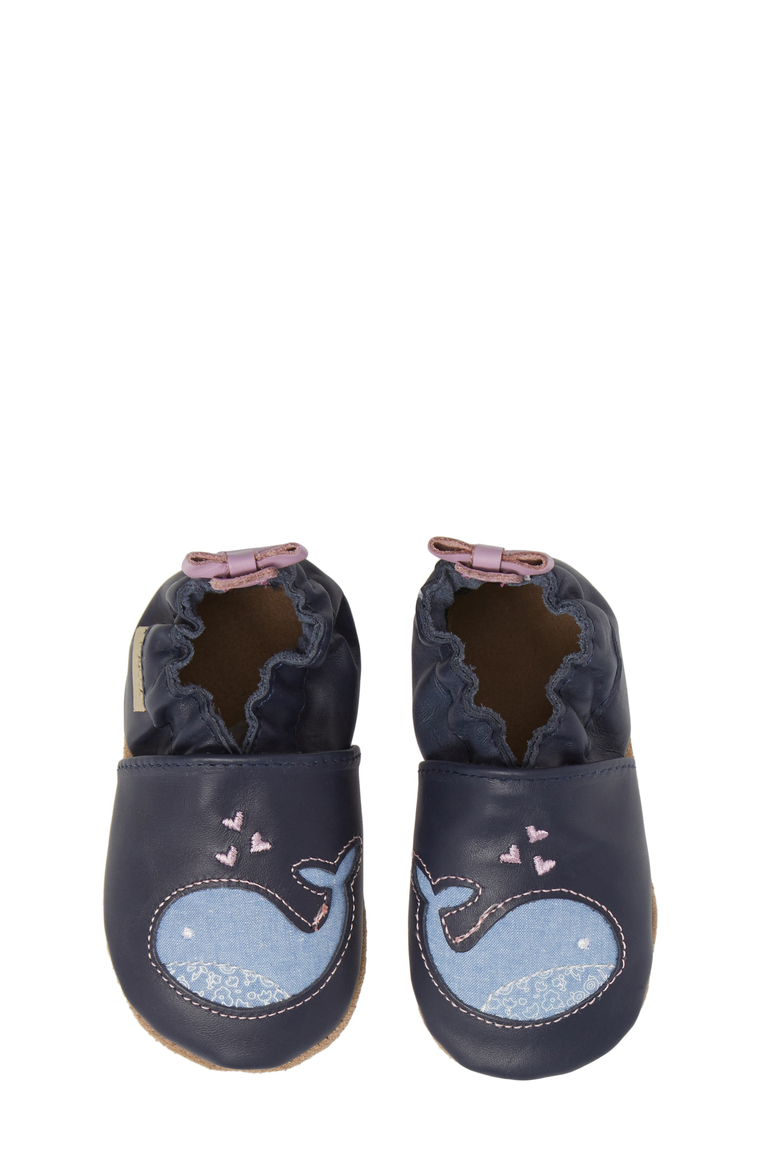 ROBEEZ<SUP>®</SUP>, Poppy Whale Crib Shoe, Alternate thumbnail 5, color, NAVY
