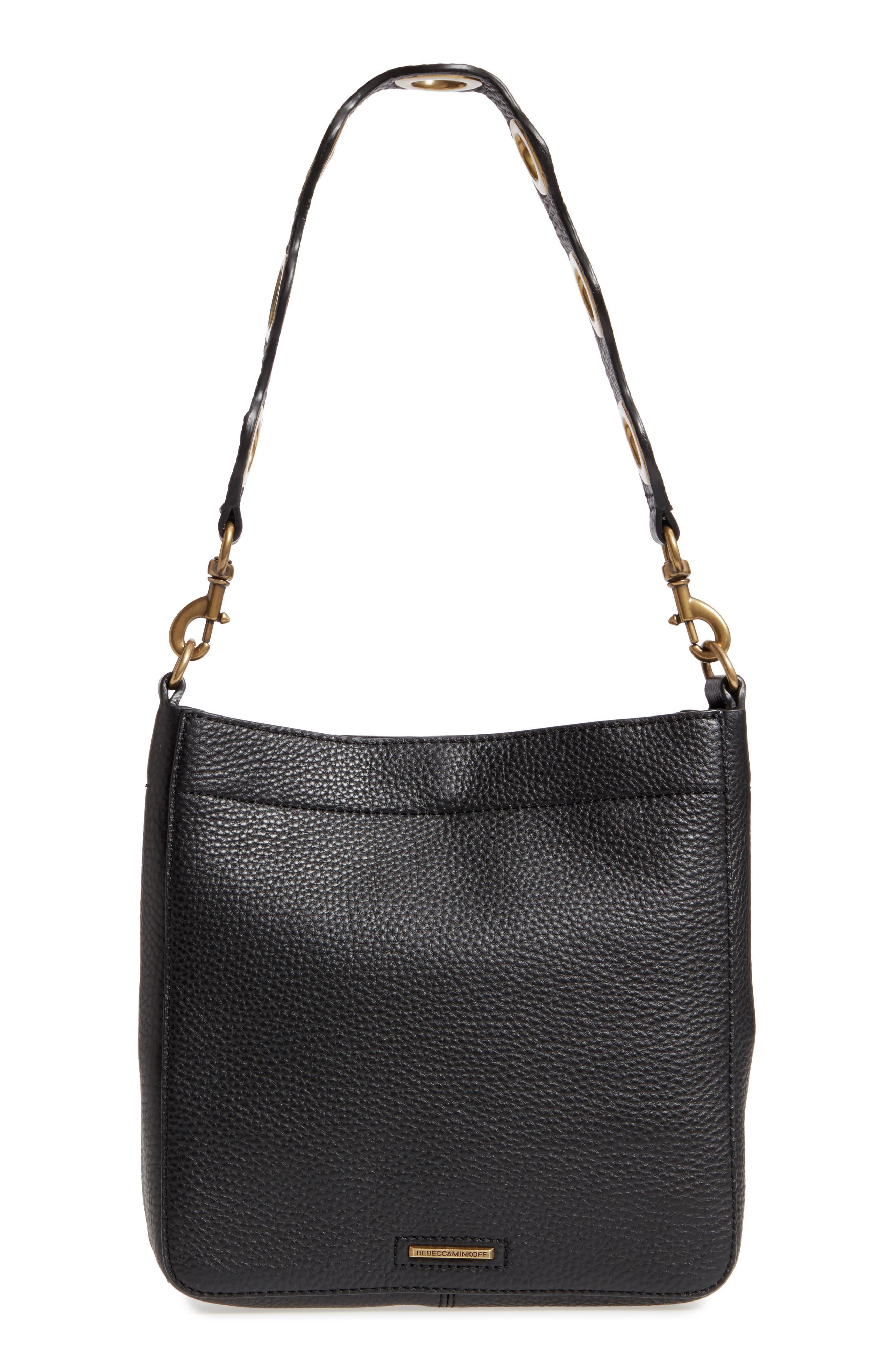 REBECCA MINKOFF, Small Darren Deerskin Leather Feed Bag, Alternate thumbnail 4, color, BLACK