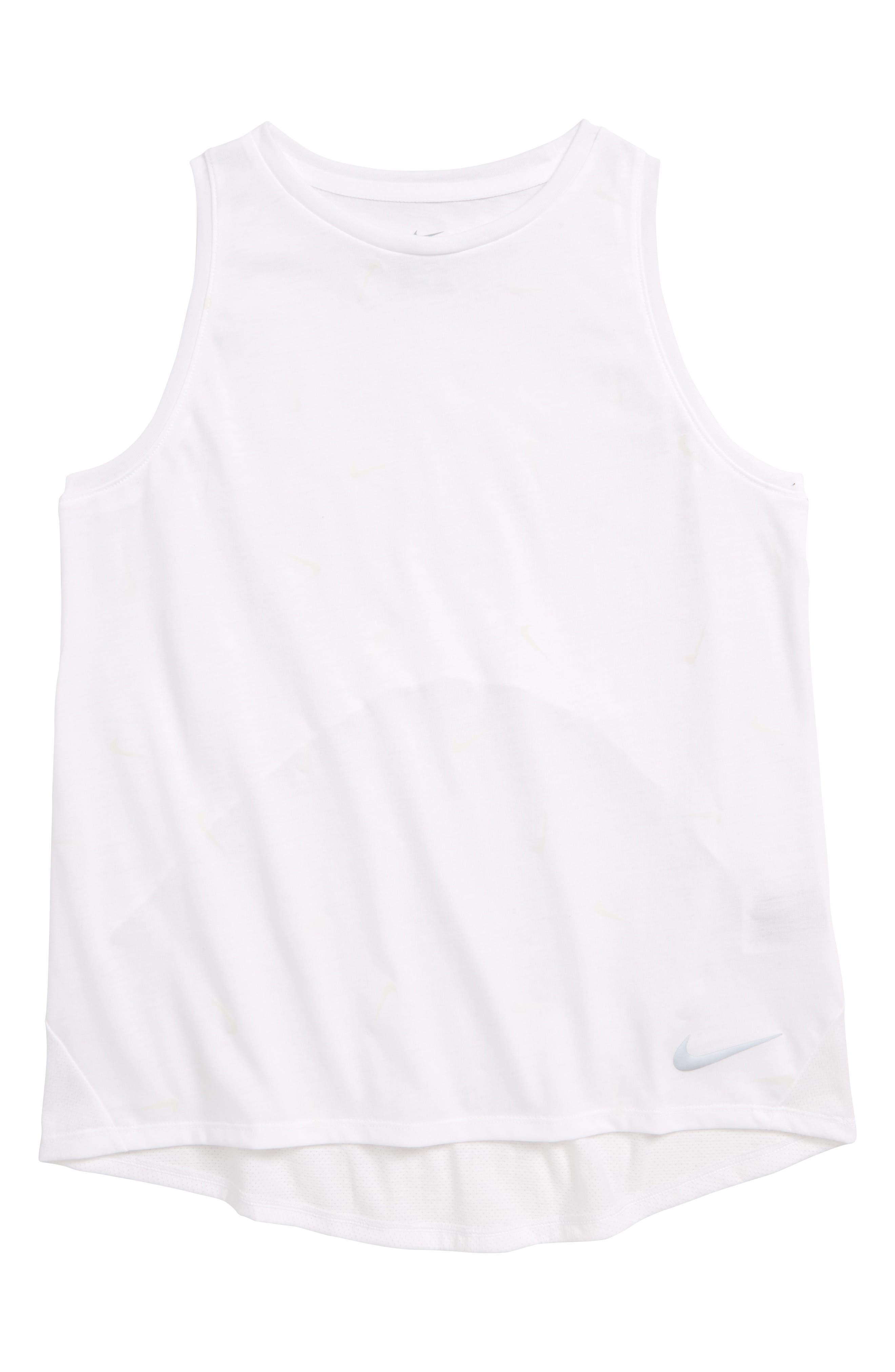 NIKE, Dri-FIT Breathe UV-Activated Logo Print Running Tank, Main thumbnail 1, color, WHITE/ REFLECTIVE SILV