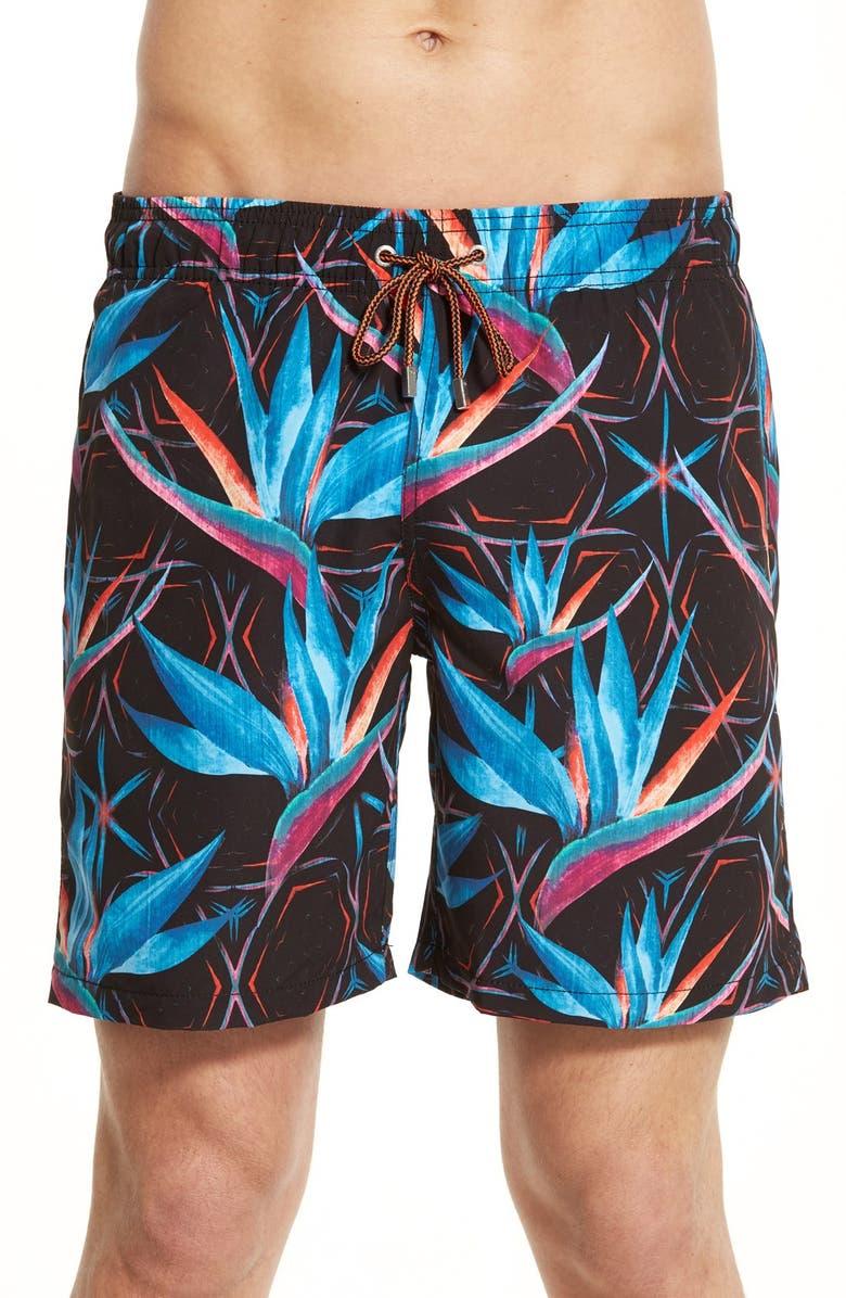e80c653770 BUGATCHI Tropical Flower Print Swim Trunks, Main, color, 415