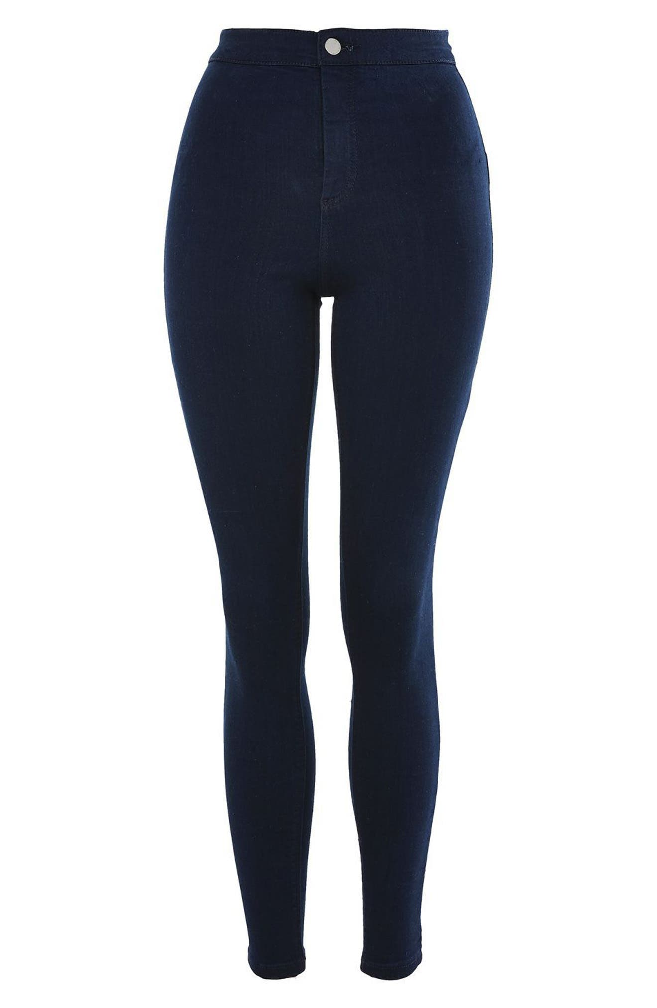 TOPSHOP, Joni High Waist Skinny Jeans, Alternate thumbnail 3, color, DARK INDIGO