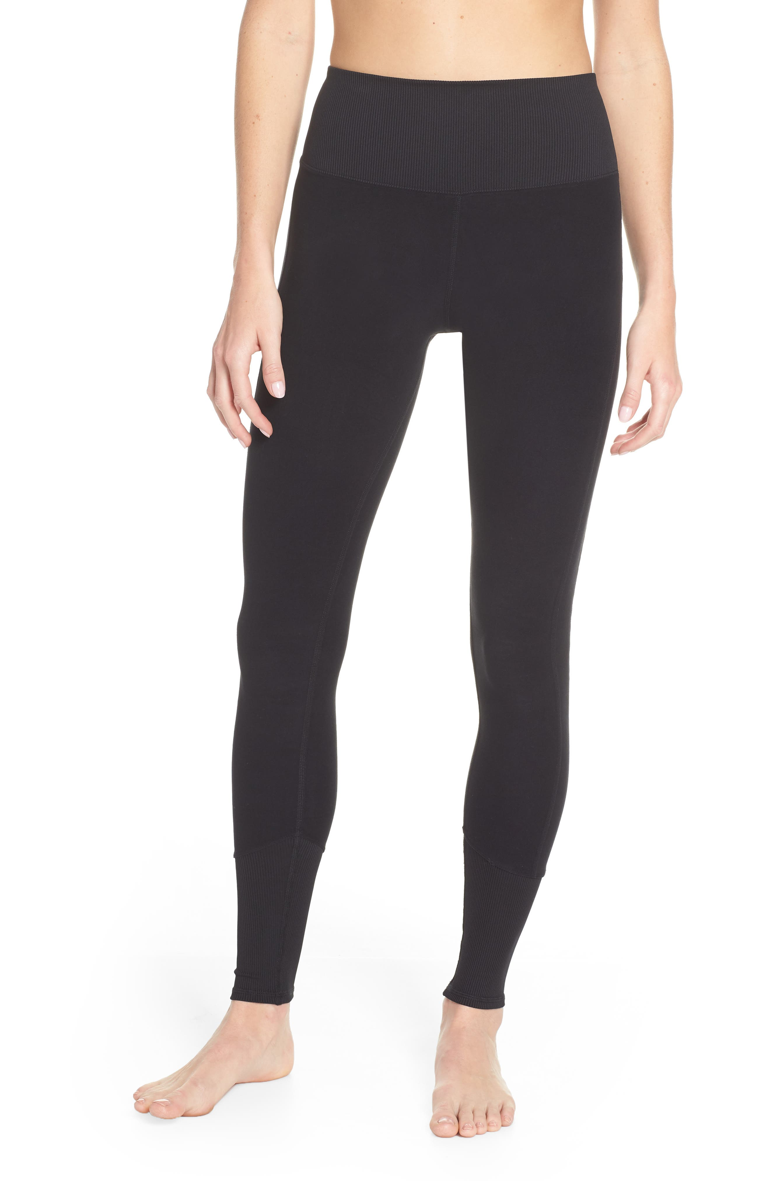 ALO, High Waist Lounge Leggings, Main thumbnail 1, color, BLACK