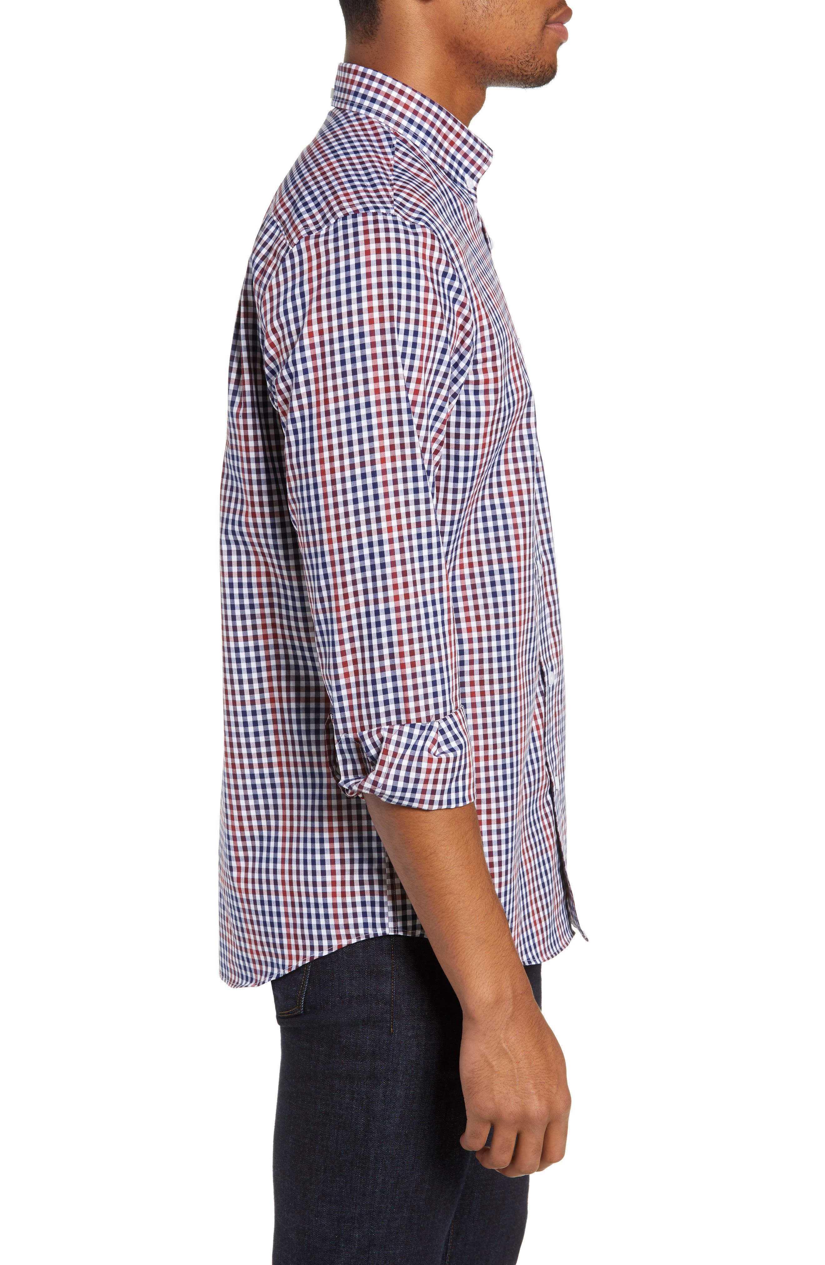 NORDSTROM MEN'S SHOP, Slim Fit Non-Iron Gingham Sport Shirt, Alternate thumbnail 3, color, 610
