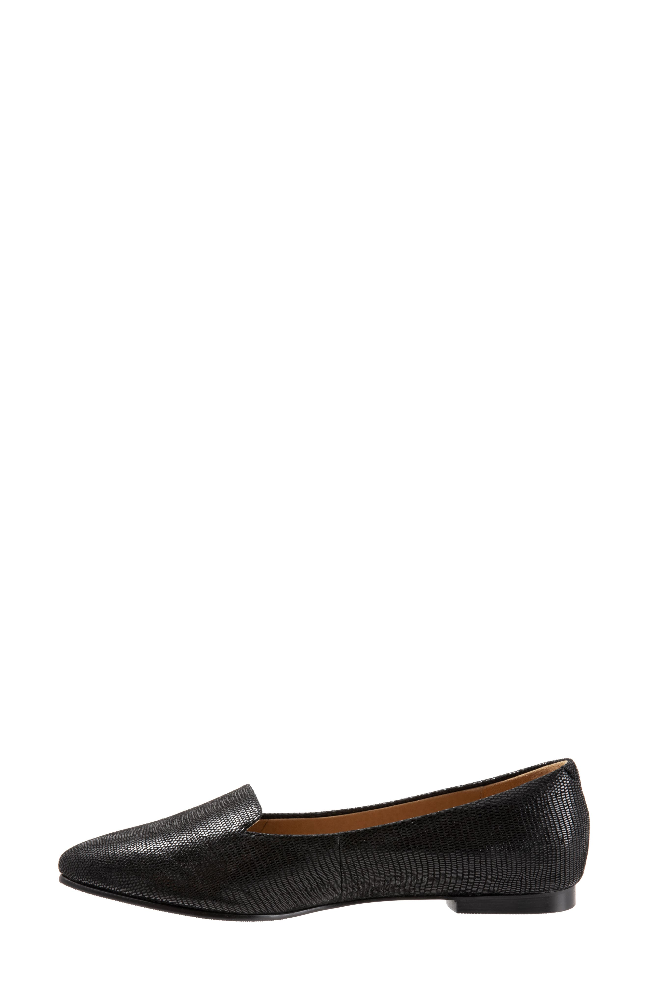 TROTTERS, Harlowe Pointy Toe Loafer, Alternate thumbnail 3, color, DARK BLACK LEATHER