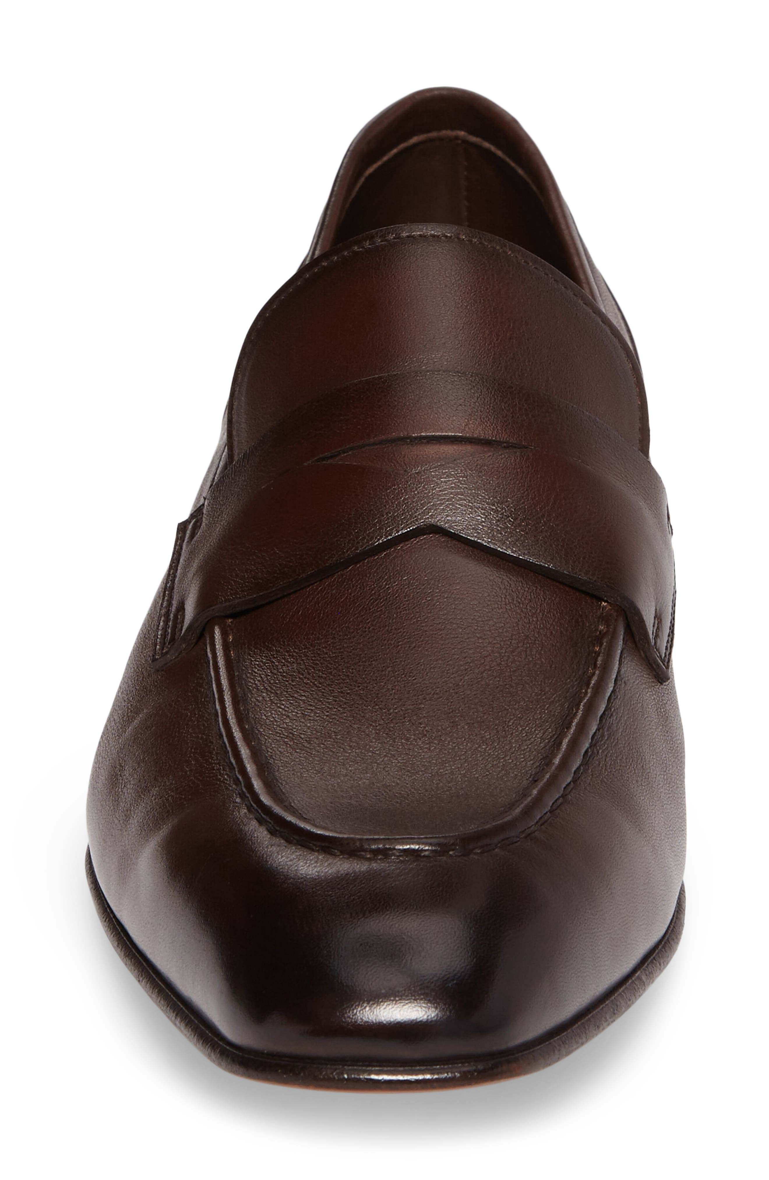 SANTONI, Gannon Penny Loafer, Alternate thumbnail 4, color, BROWN