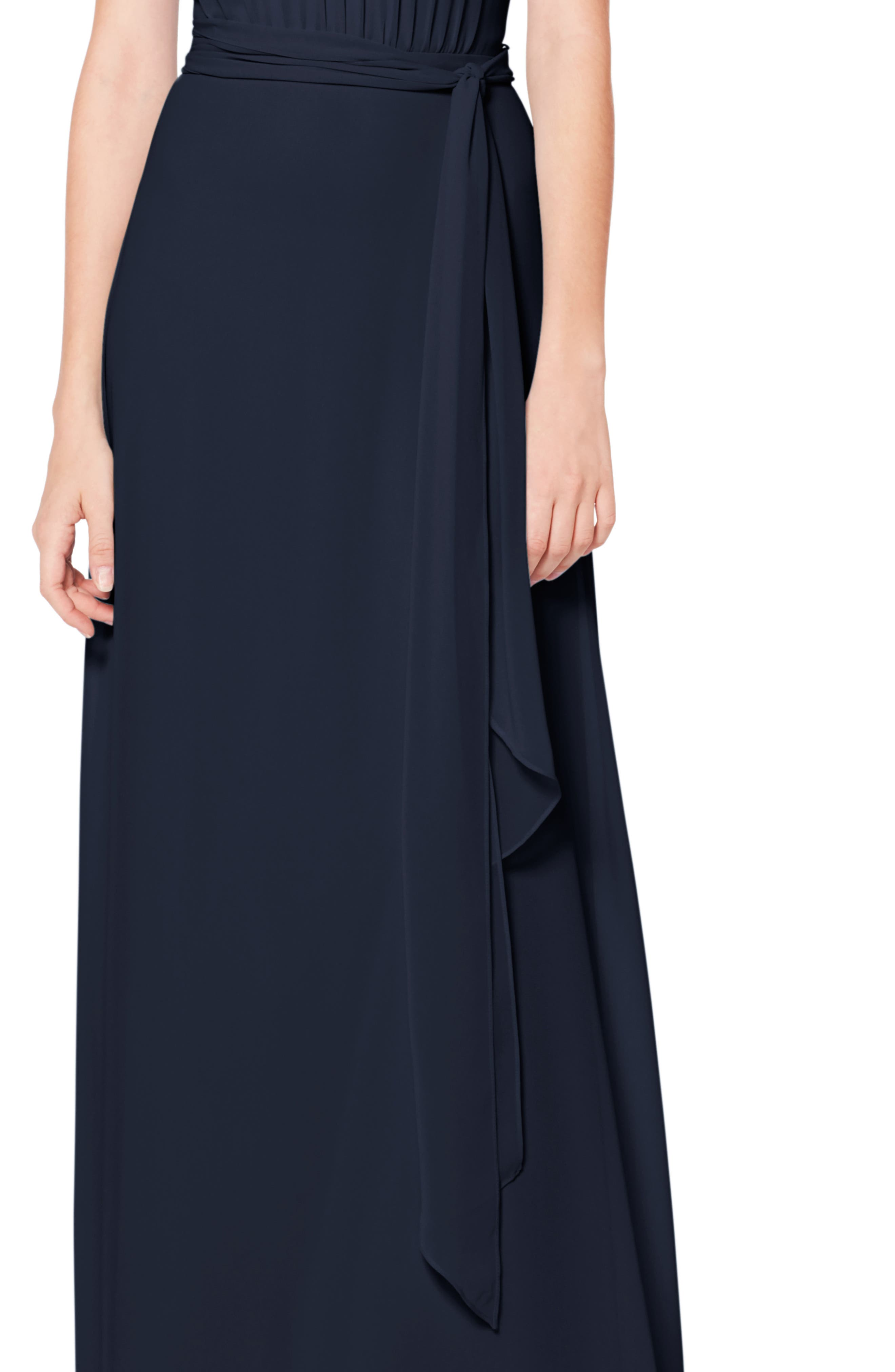 #LEVKOFF, Halter Neck Tie Detail Chiffon Gown, Alternate thumbnail 4, color, NAVY