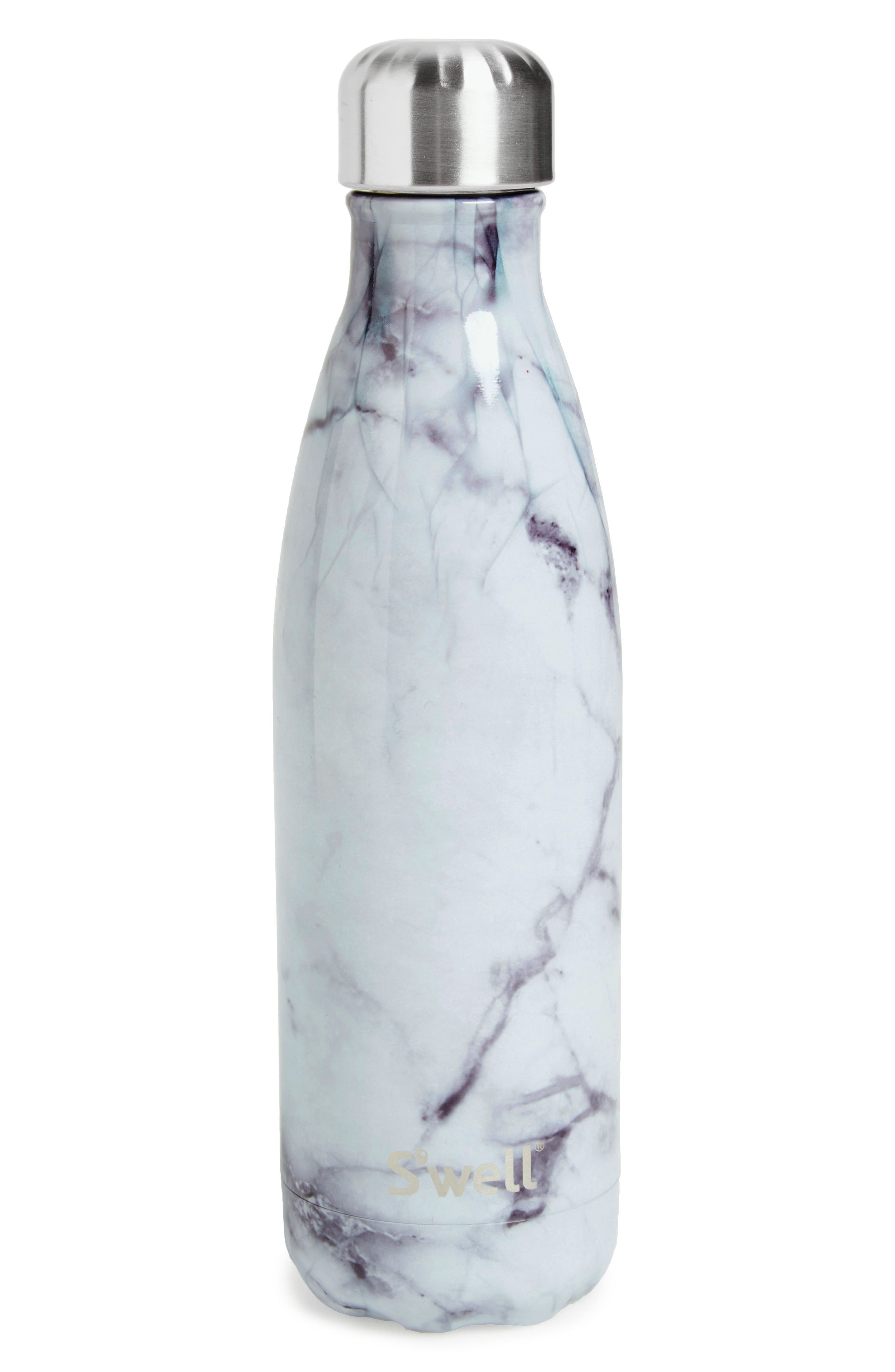 S'WELL, 'White Marble' Insulated Stainless Steel Water Bottle, Alternate thumbnail 2, color, 100