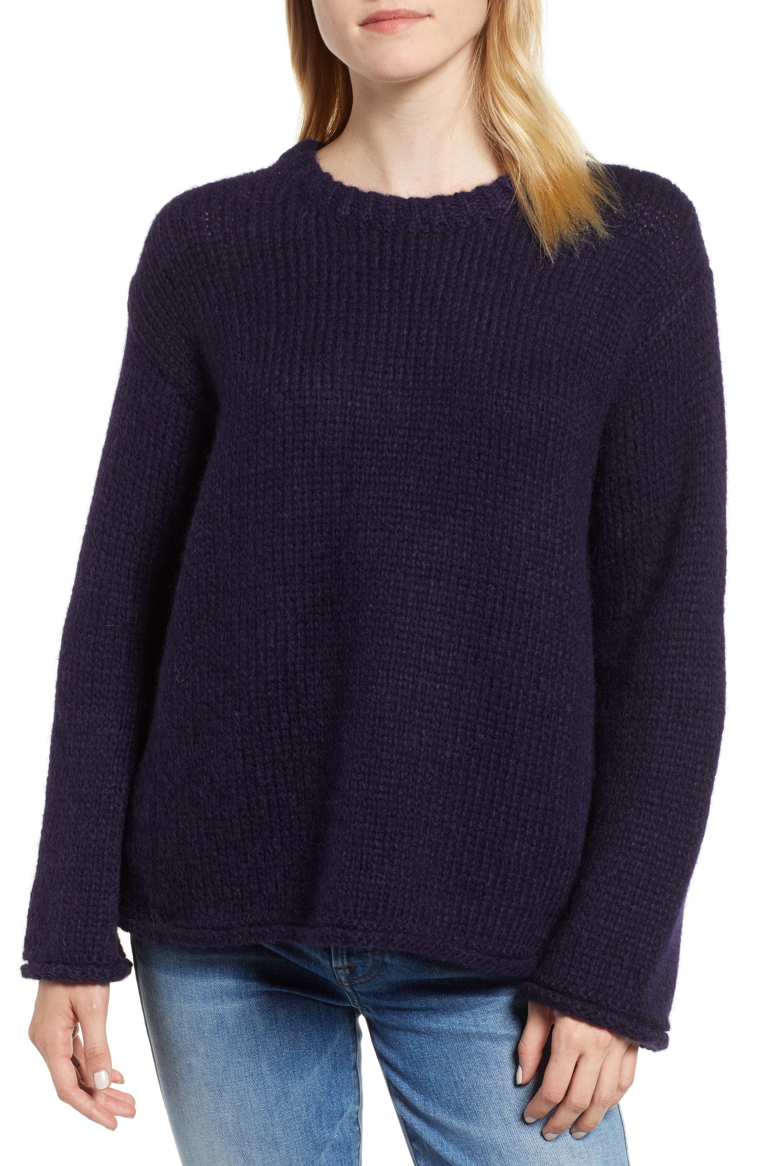 Velvet By Graham & Spencer Wool Alpaca Blend Crewneck Sweater, Blue