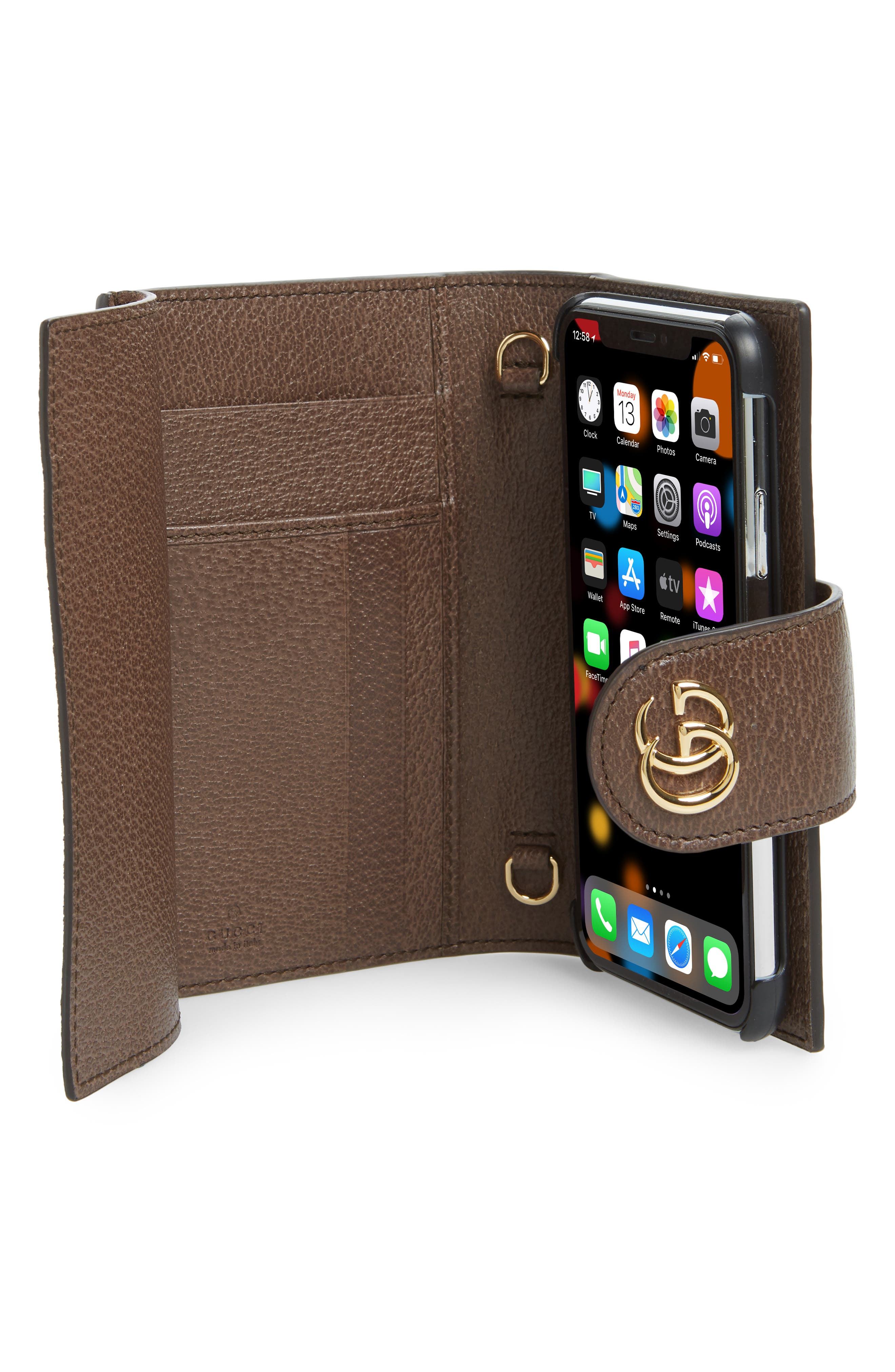 GUCCI, Ophidia iPhone X Folio Crossbody, Alternate thumbnail 2, color, BEIGE EBONY/ NEW ACERO