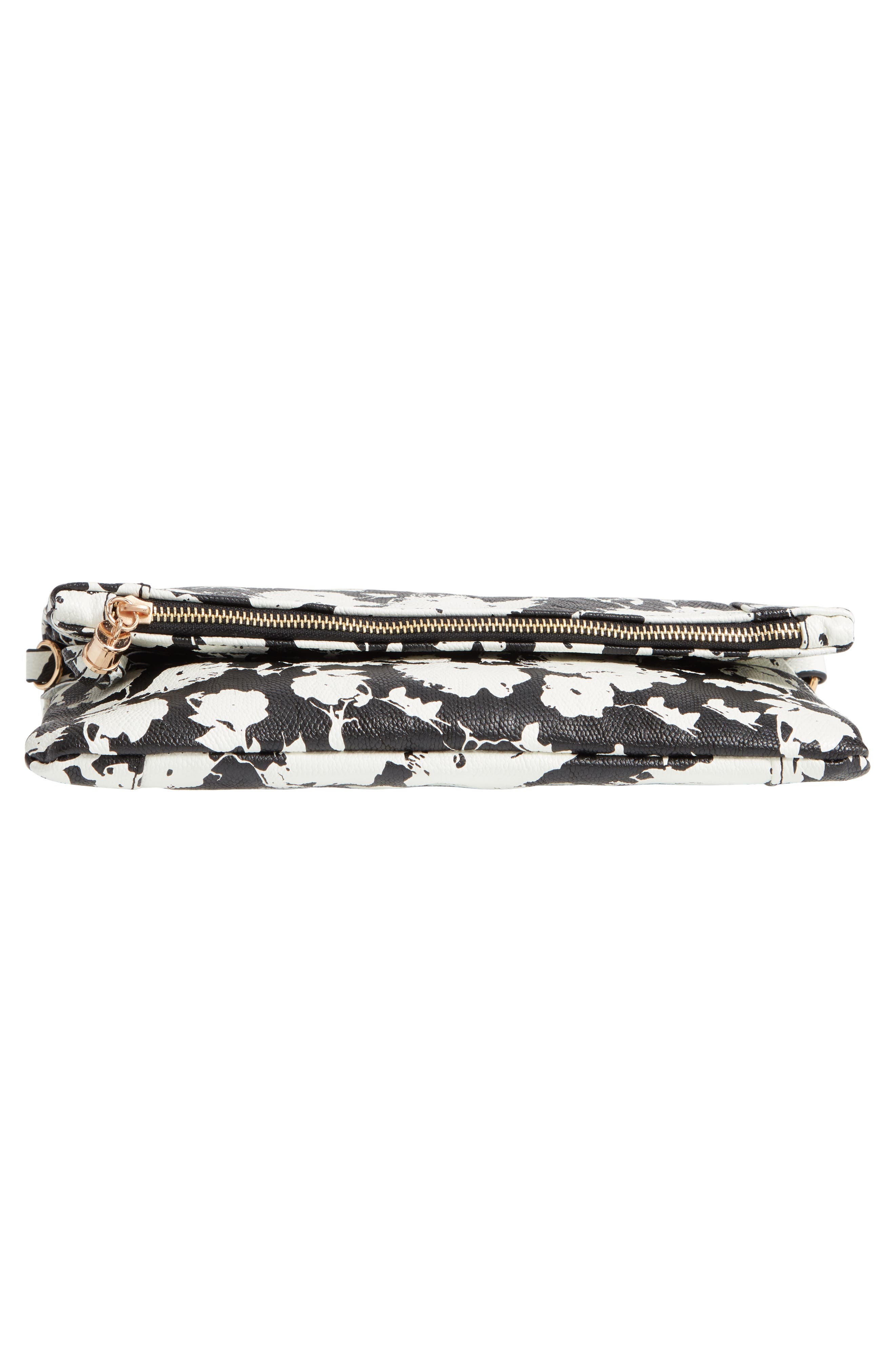 SOLE SOCIETY, 'Tasia' Print Foldover Clutch, Alternate thumbnail 7, color, BLACK FLORAL