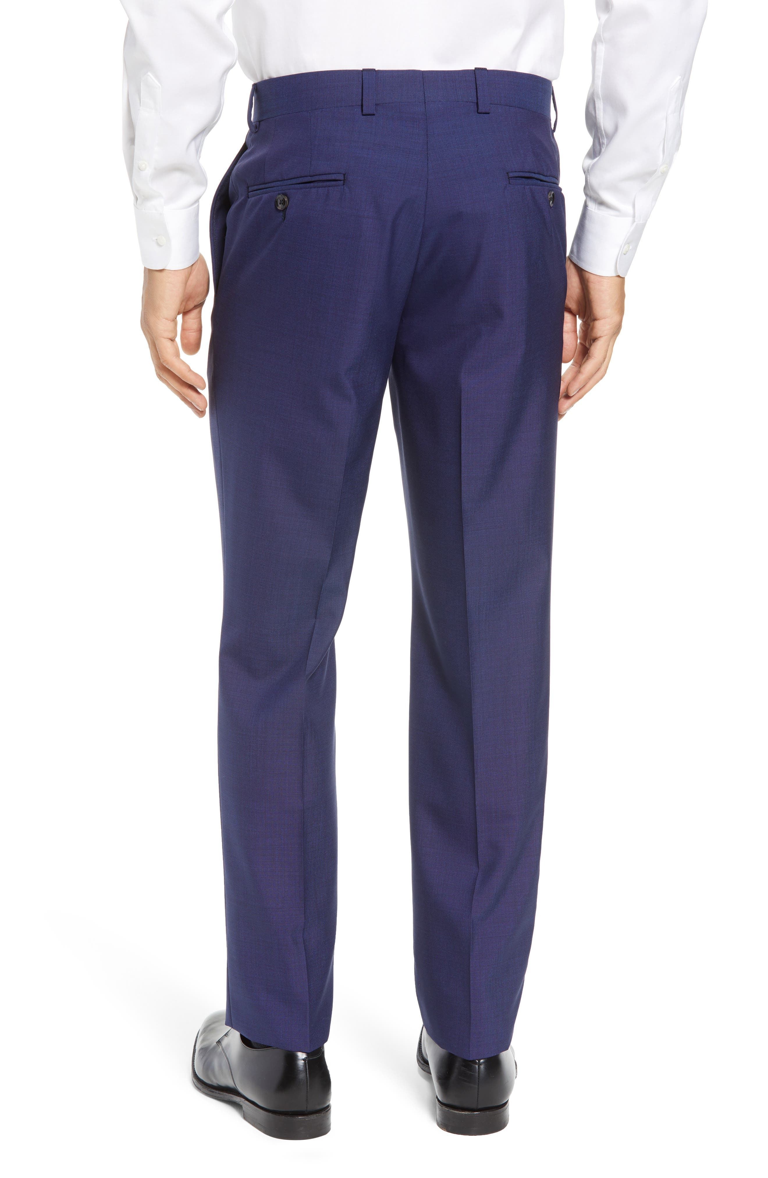 TED BAKER LONDON, Jefferson Flat Front Solid Wool Trousers, Alternate thumbnail 4, color, BLUE