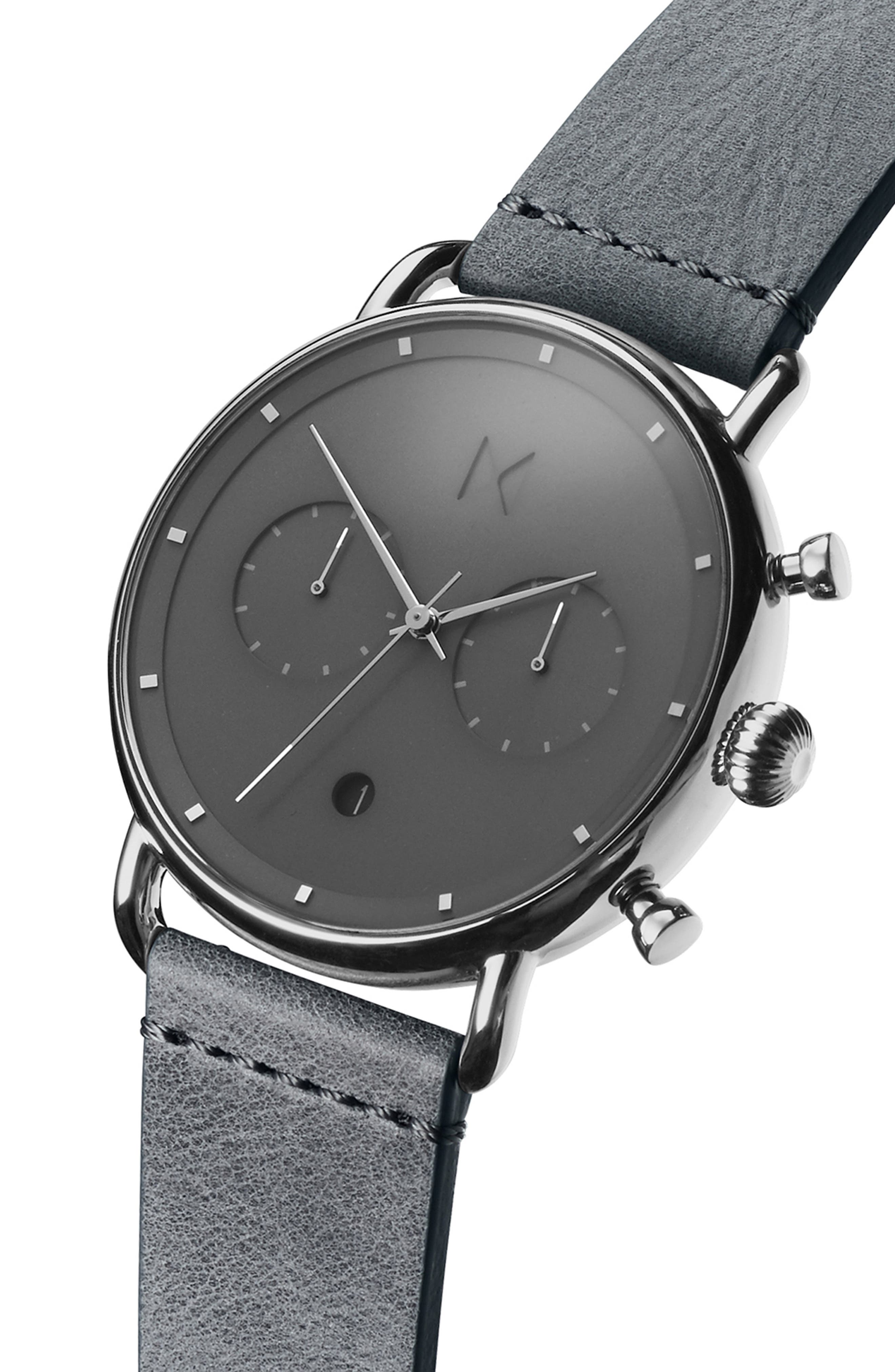 MVMT, Blacktop Chronograph Leather Strap Watch, Alternate thumbnail 3, color, GREY/ GREY