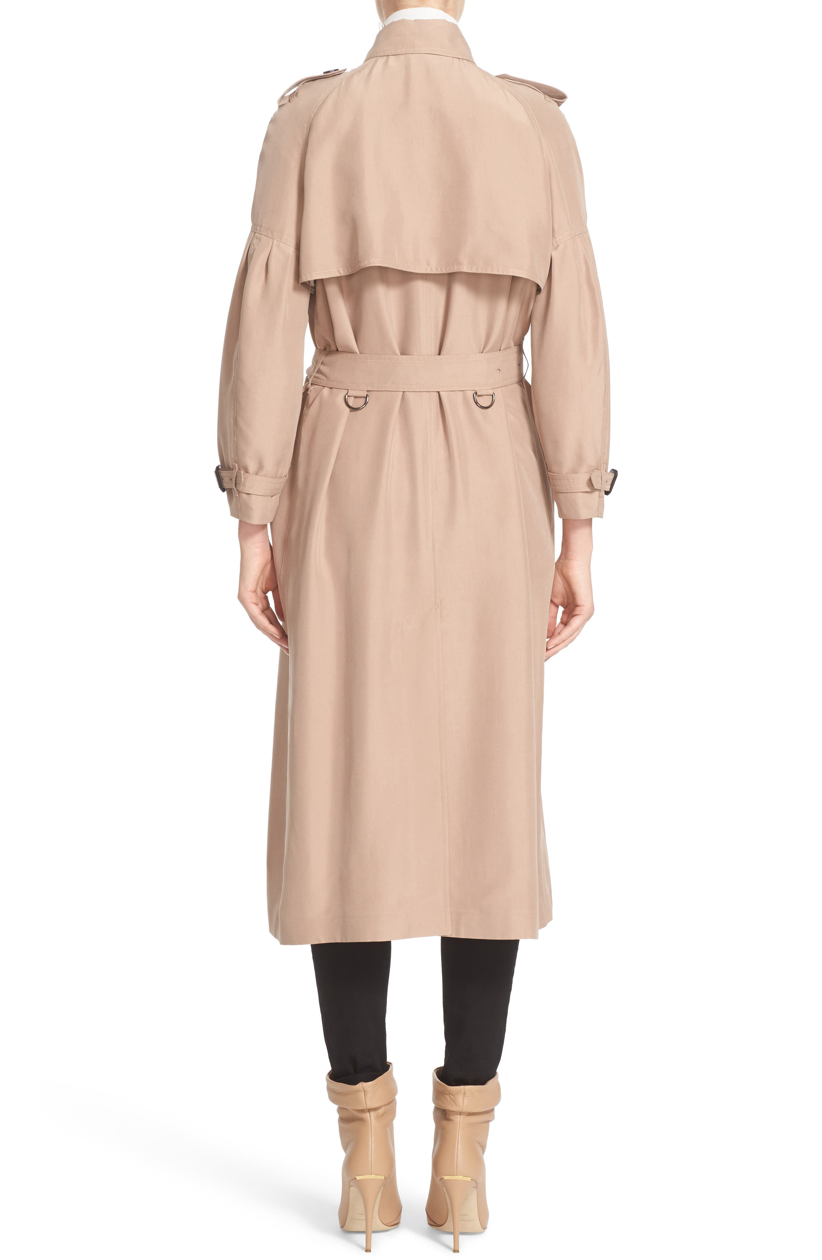 BURBERRY, Maythorne Mulberry Silk Trench, Alternate thumbnail 2, color, 250