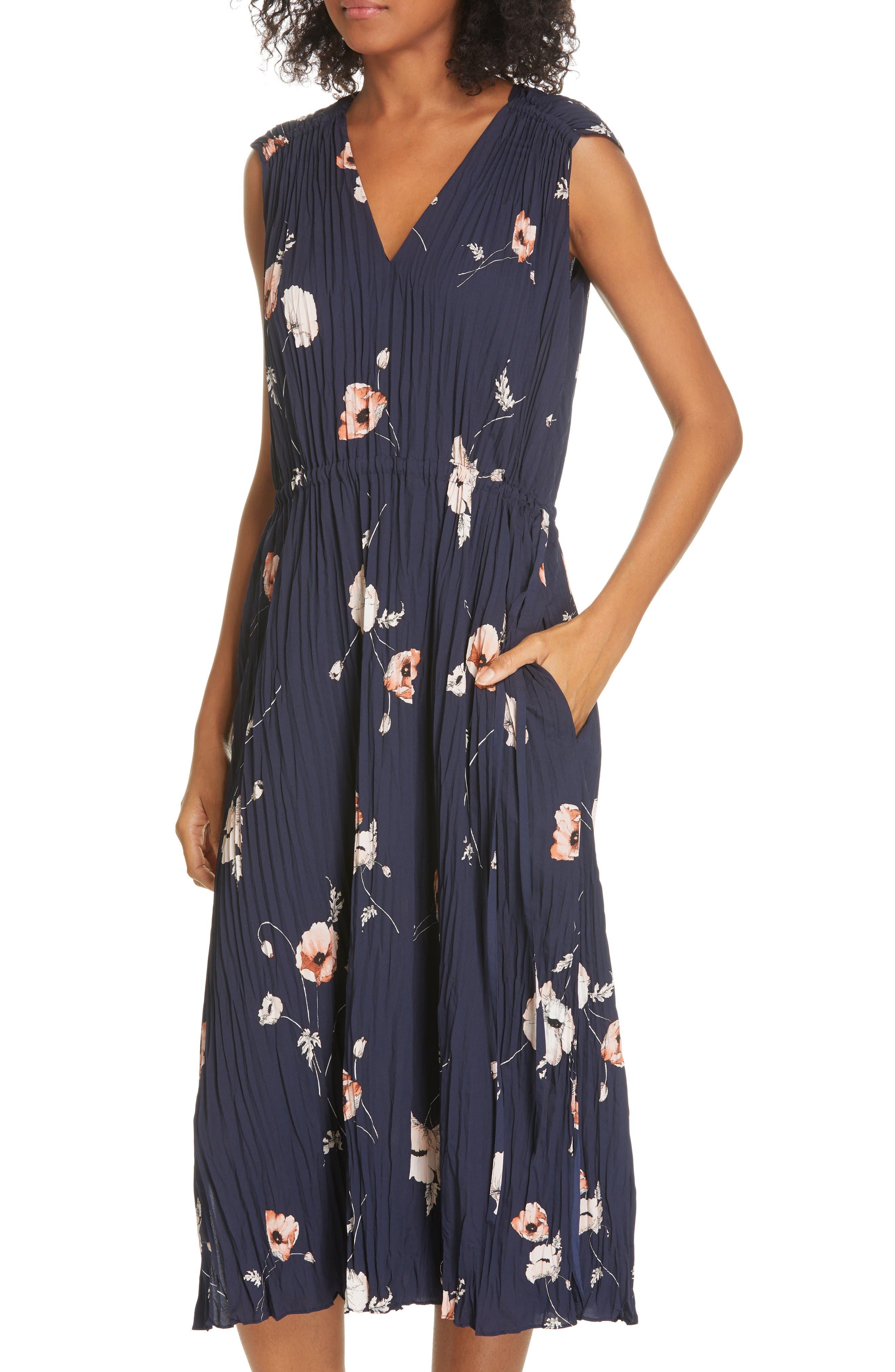 VINCE, Tossed Poppy Pleated Midi Dress, Alternate thumbnail 5, color, 427