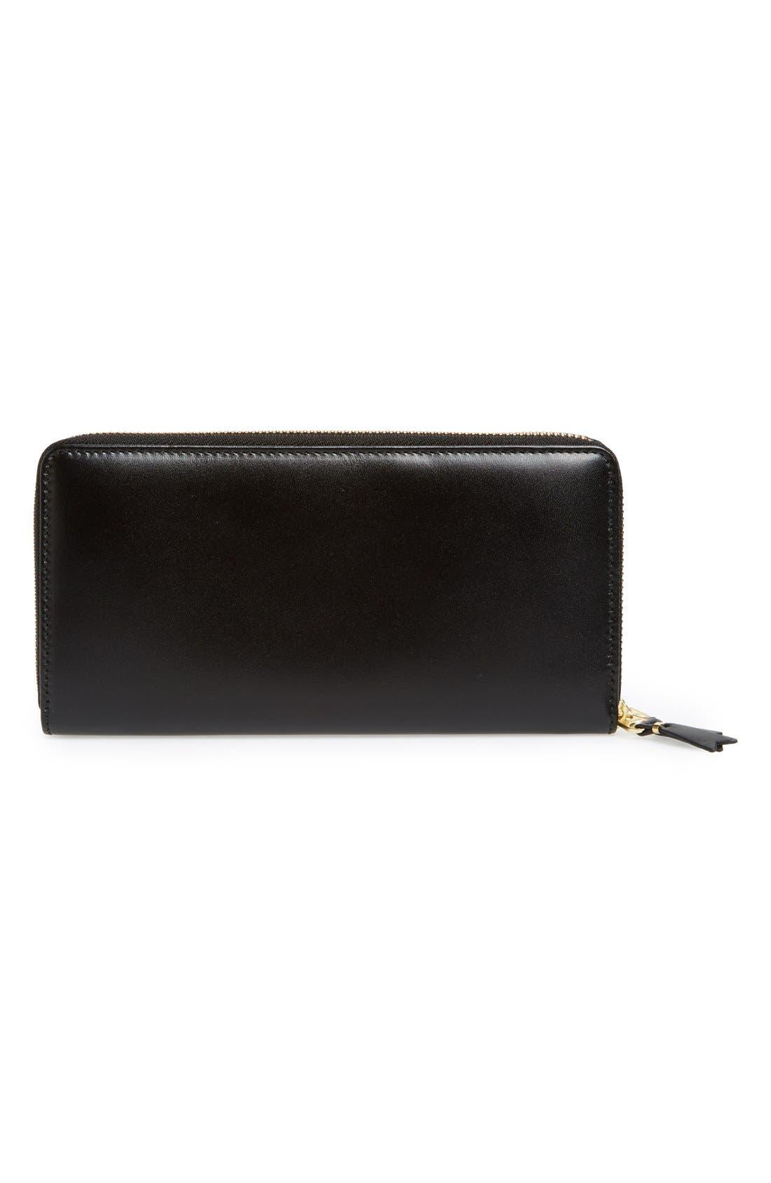 COMME DES GARÇONS, Leather Continental Long Wallet, Alternate thumbnail 3, color, BLACK