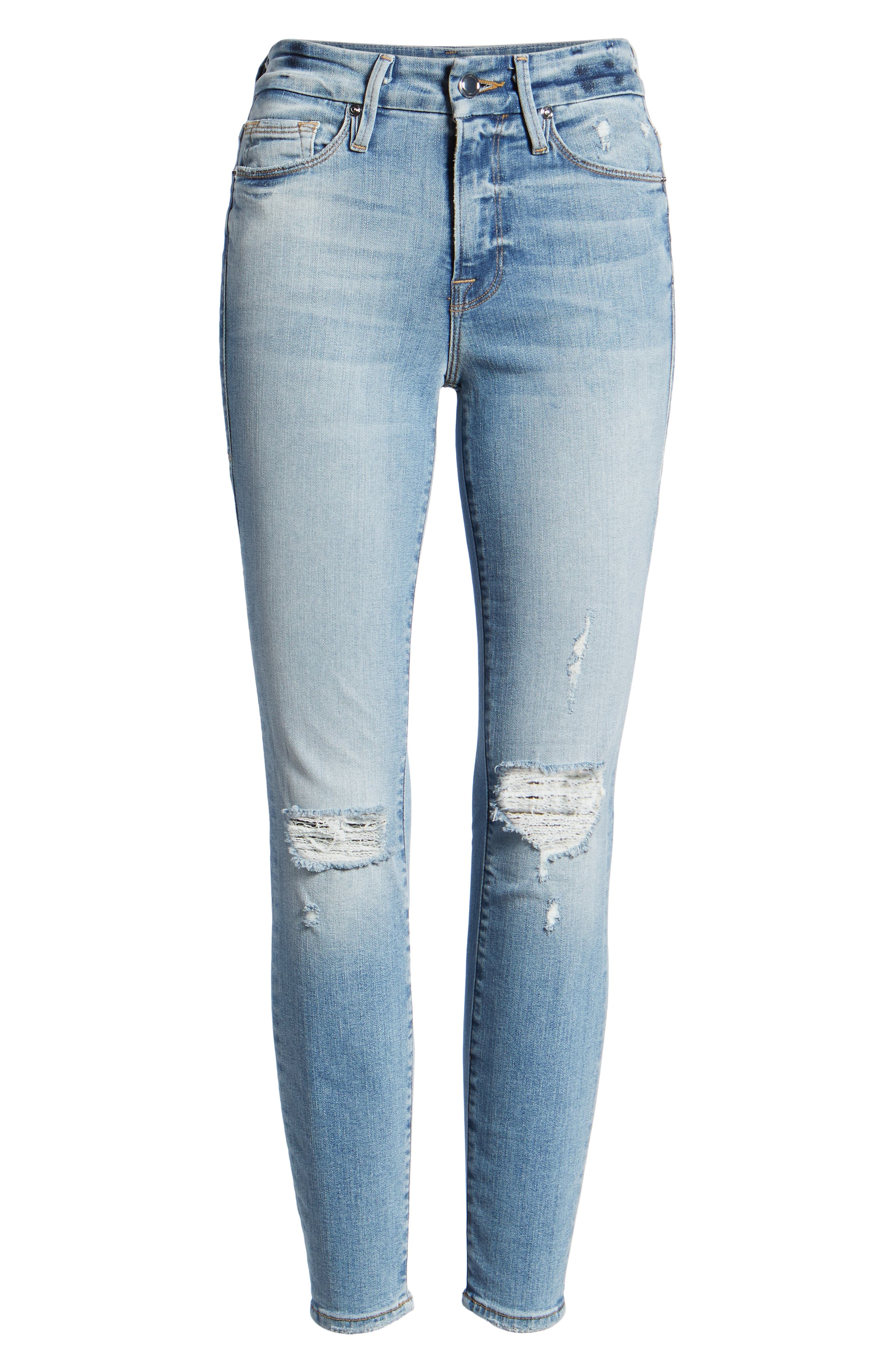 GOOD AMERICAN, Good Legs Ripped Crop Skinny Jeans, Alternate thumbnail 8, color, BLUE 199