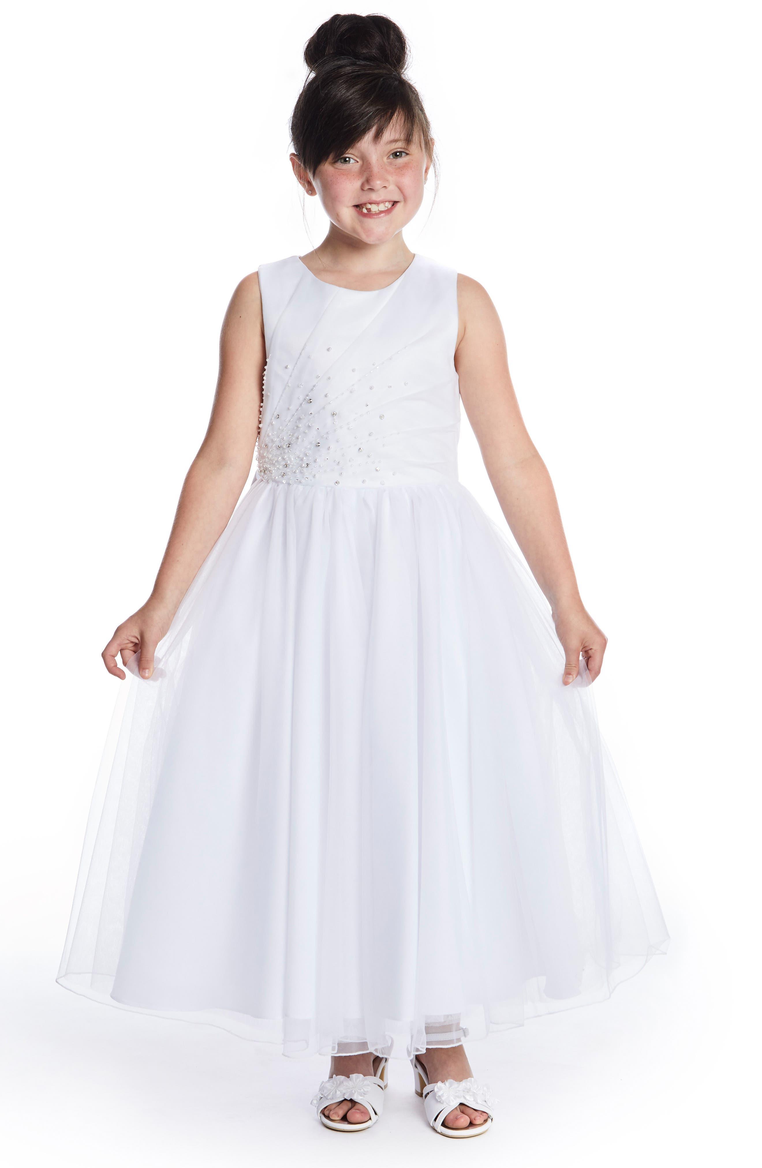 LAUREN MARIE, Beaded First Communion Dress, Main thumbnail 1, color, WHITE