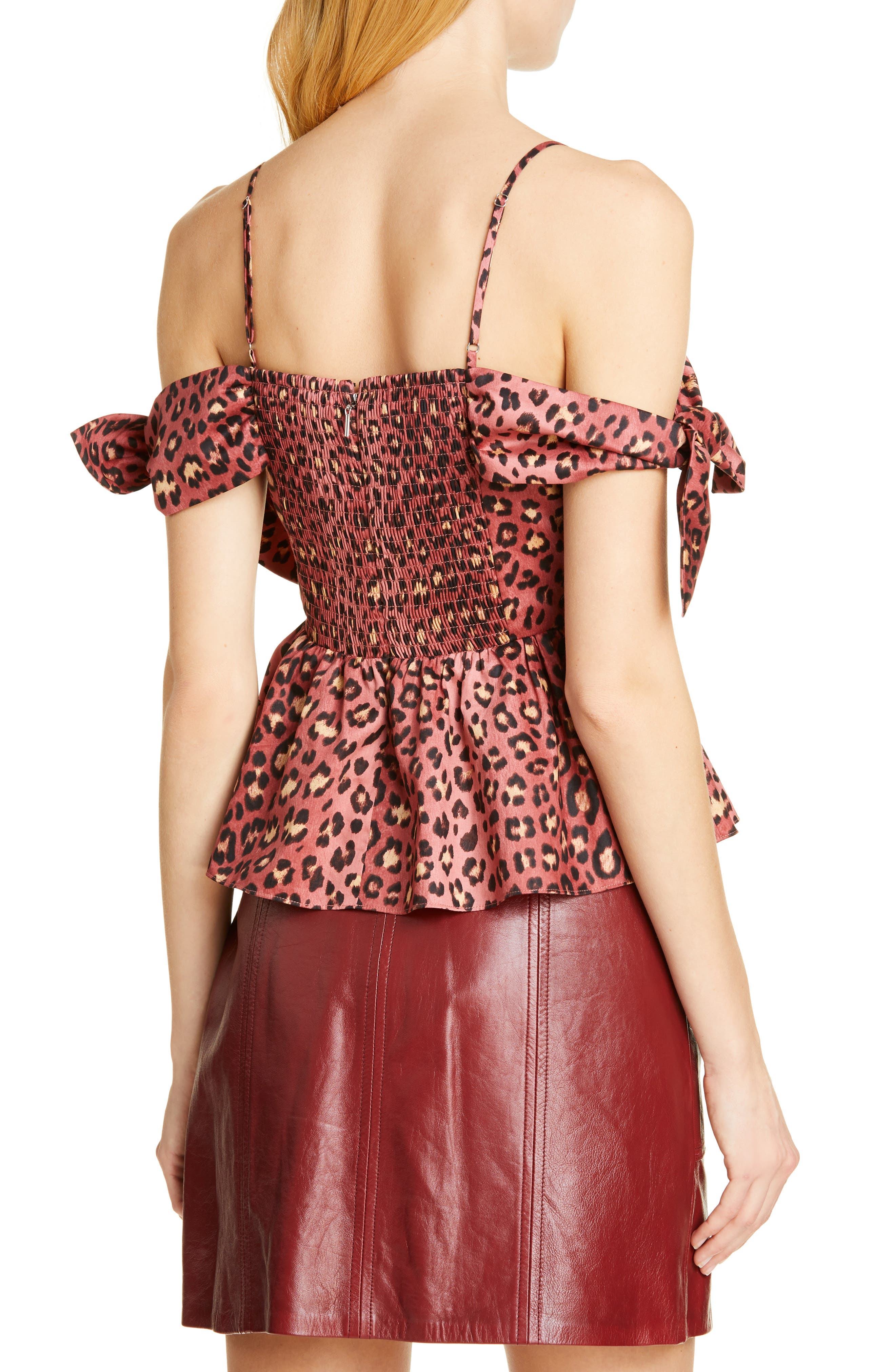 REBECCA TAYLOR, Bow Detail Leopard Print Cold Shoulder Cotton Blouse, Alternate thumbnail 2, color, HENNA