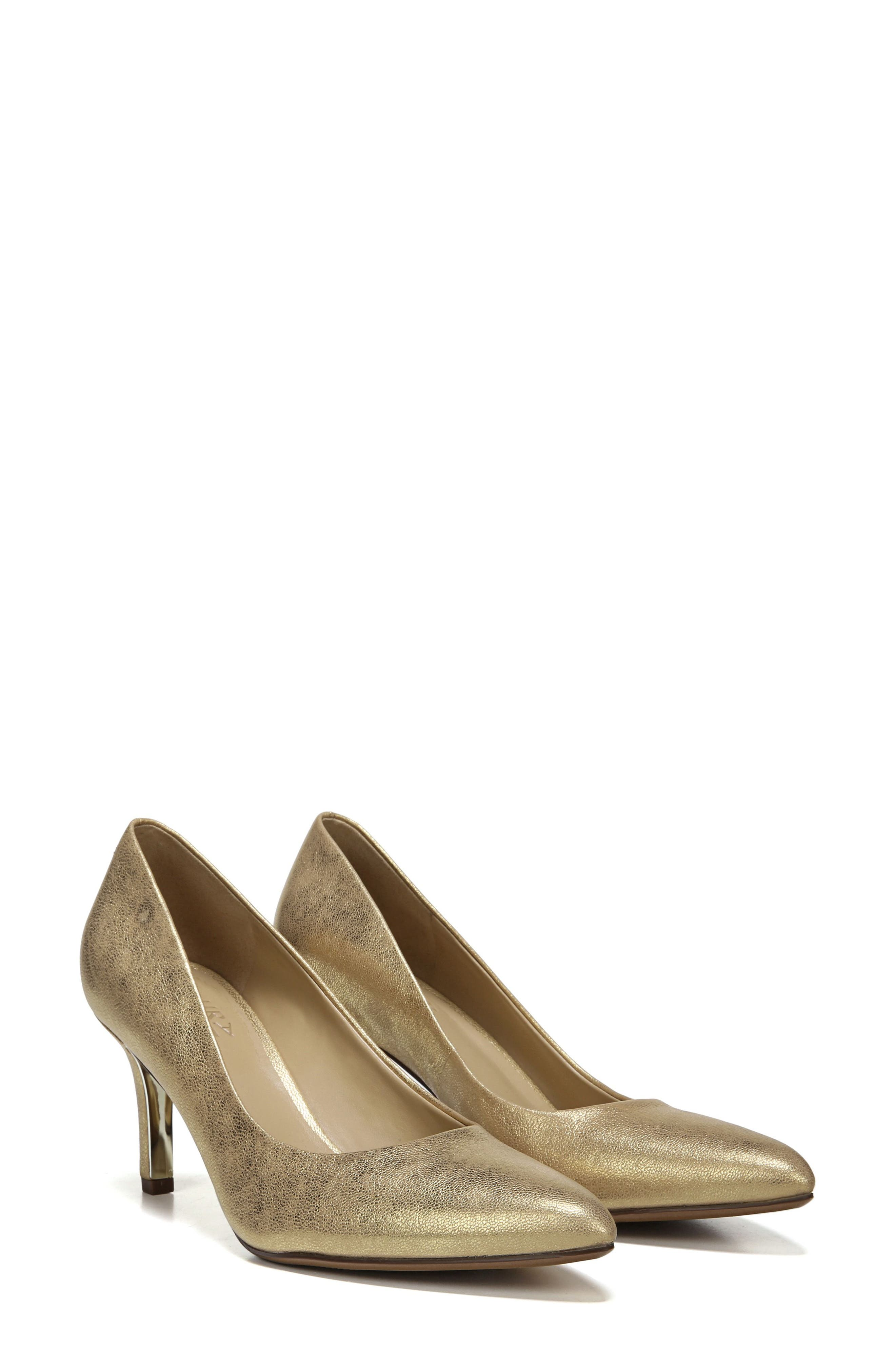 NATURALIZER, Natalie Pointy Toe Pump, Main thumbnail 1, color, GOLD LEATHER