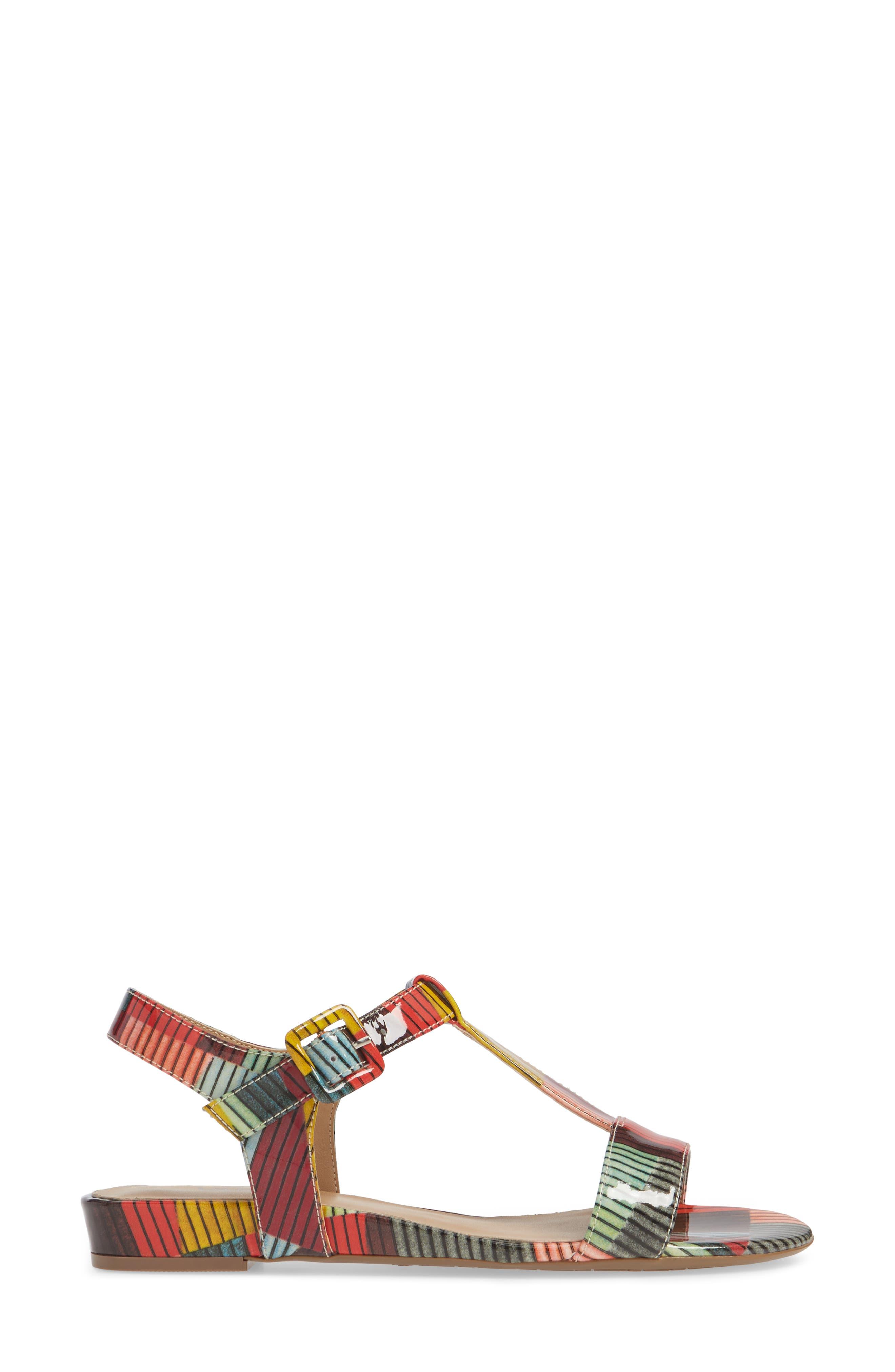 VANELI, Burlie T-Strap Sandal, Alternate thumbnail 3, color, MULTICOLOR PATENT LEATHER