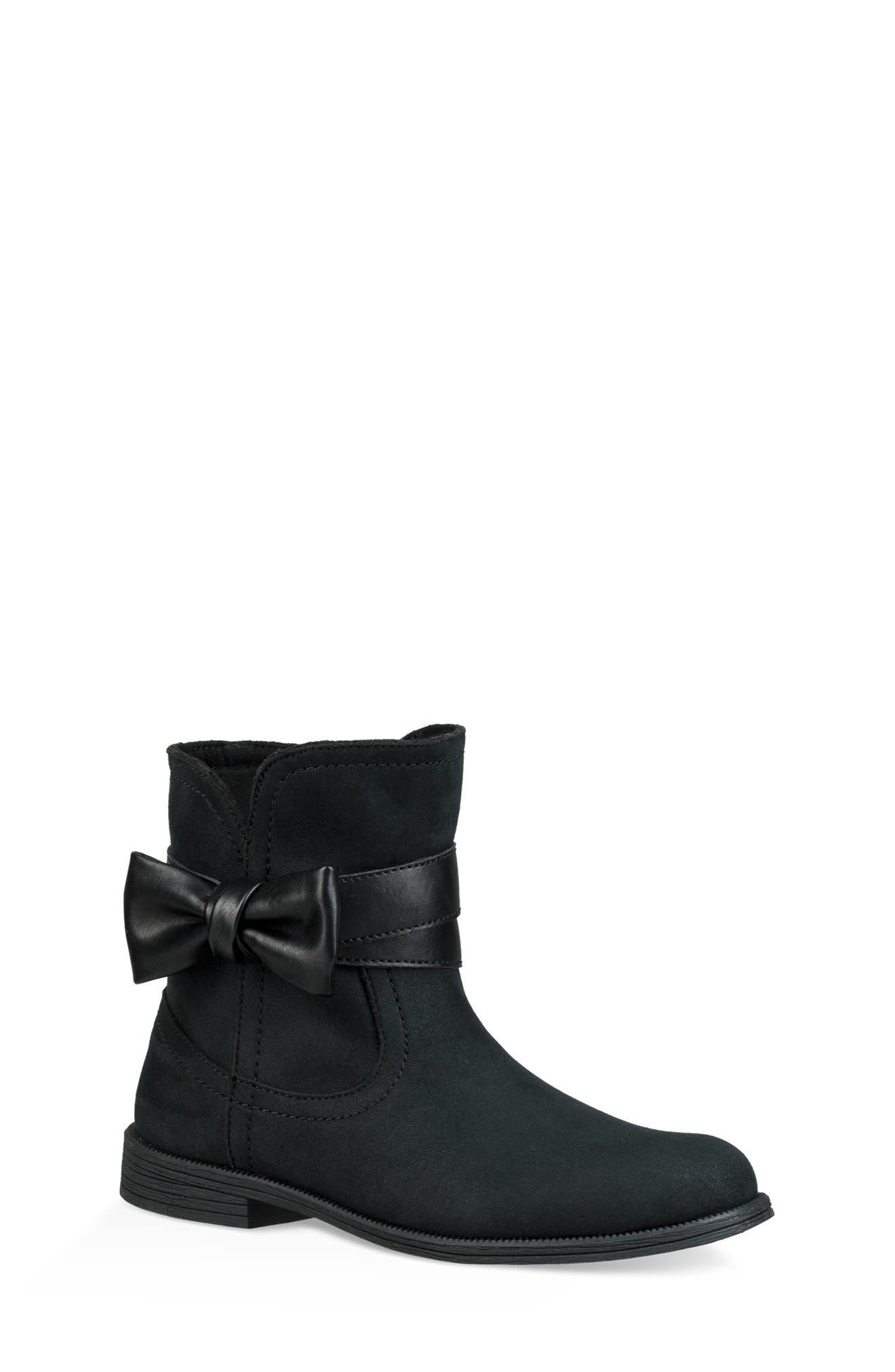 UGG<SUP>®</SUP>, UGG Joanie Bow Boot, Main thumbnail 1, color, BLACK