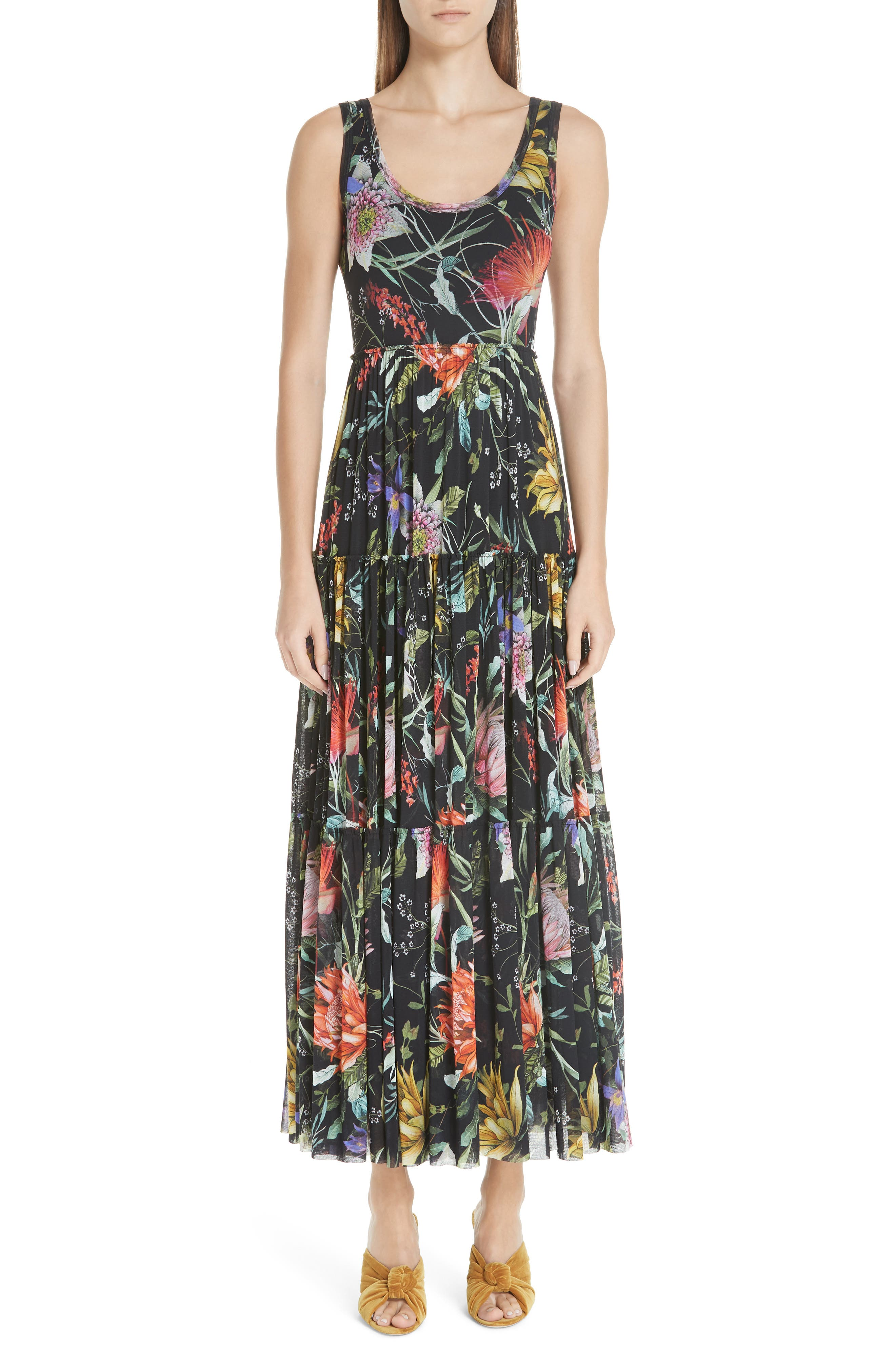 Fuzzi Floral Tulle Tiered Maxi Dress, Black