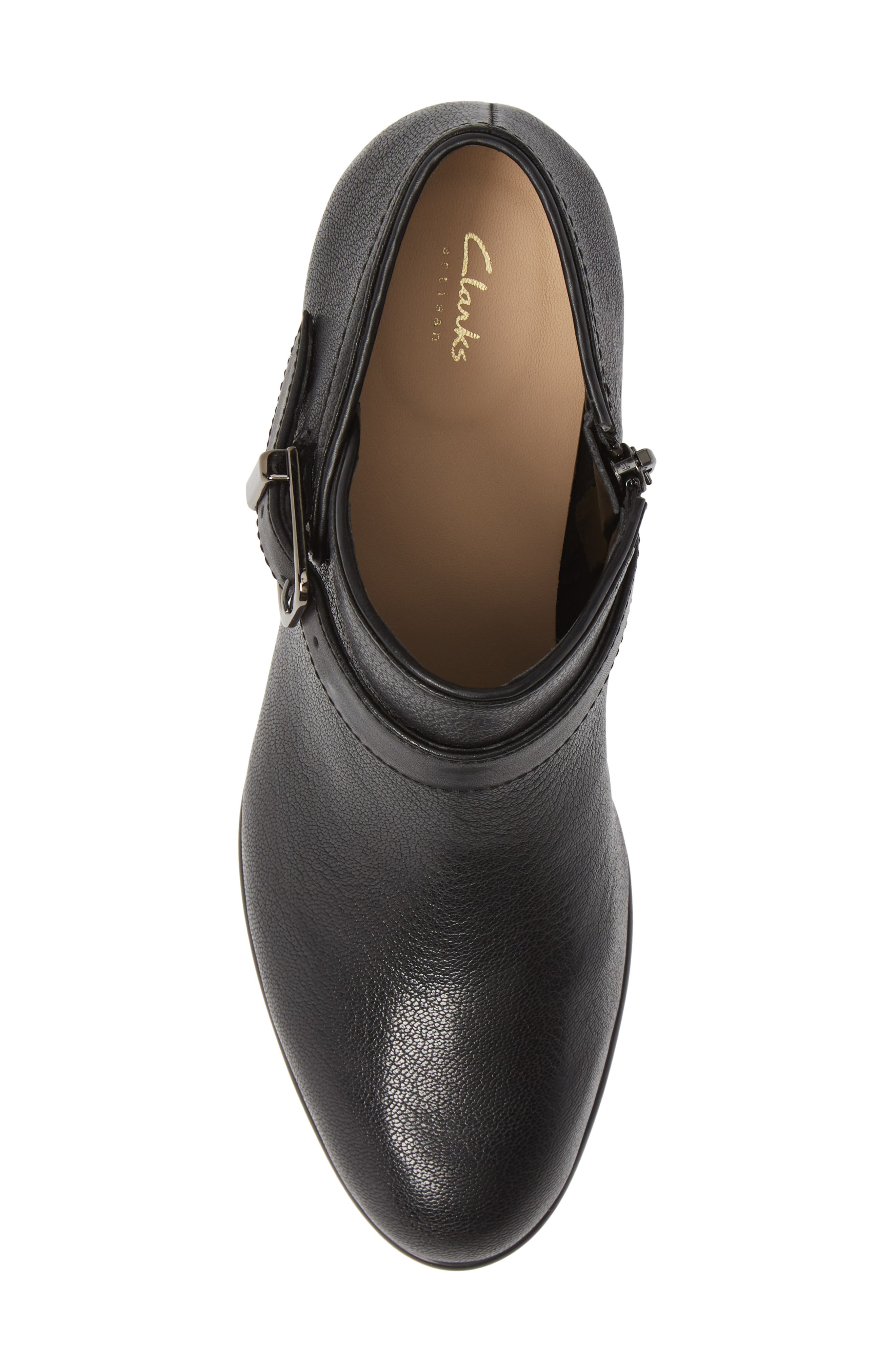 CLARKS<SUP>®</SUP>, Maypearl Milla Bootie, Alternate thumbnail 5, color, BLACK TUMBLED LEATHER