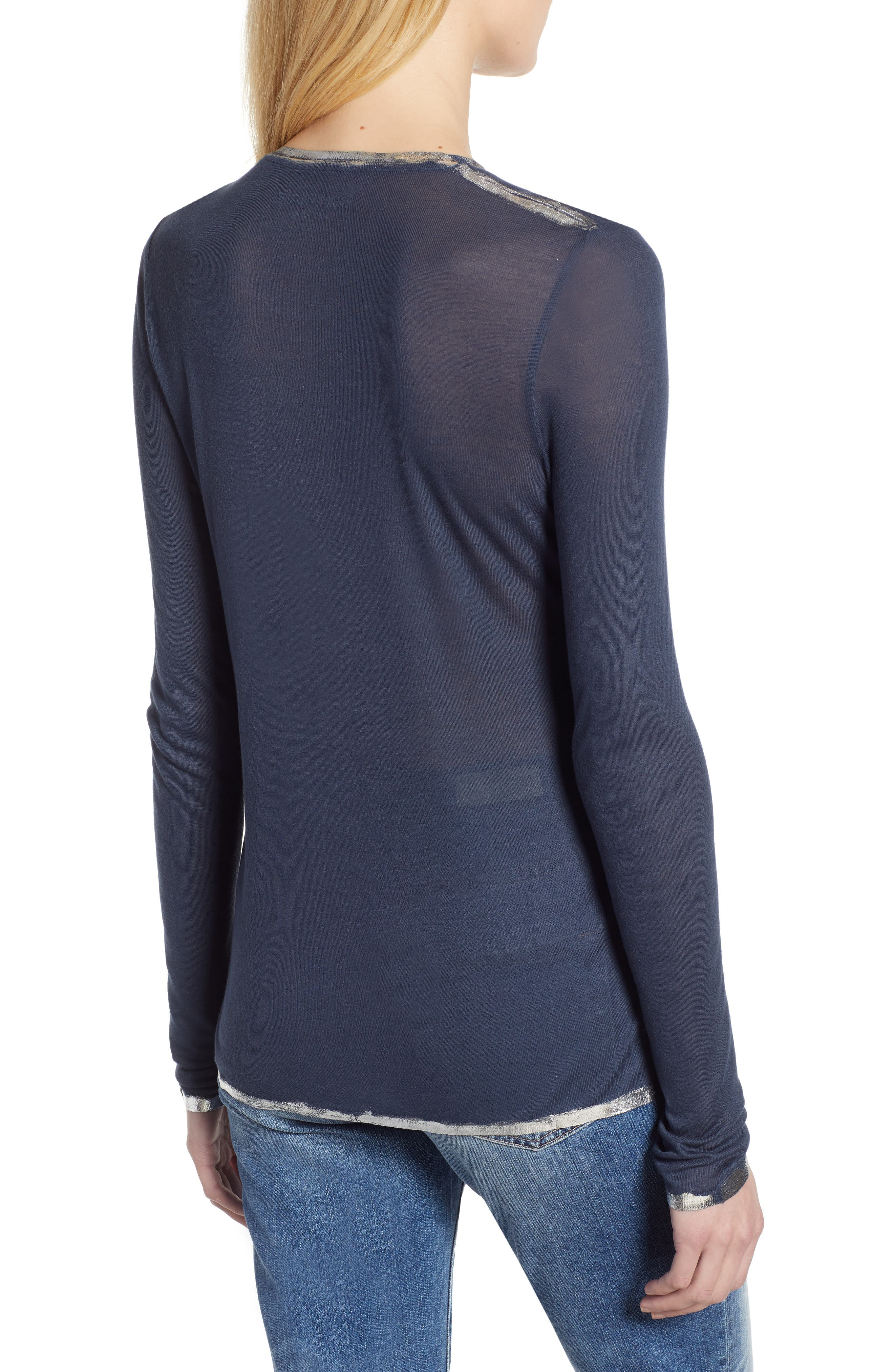 ZADIG & VOLTAIRE, Willy Foil Tee, Alternate thumbnail 2, color, MARINE