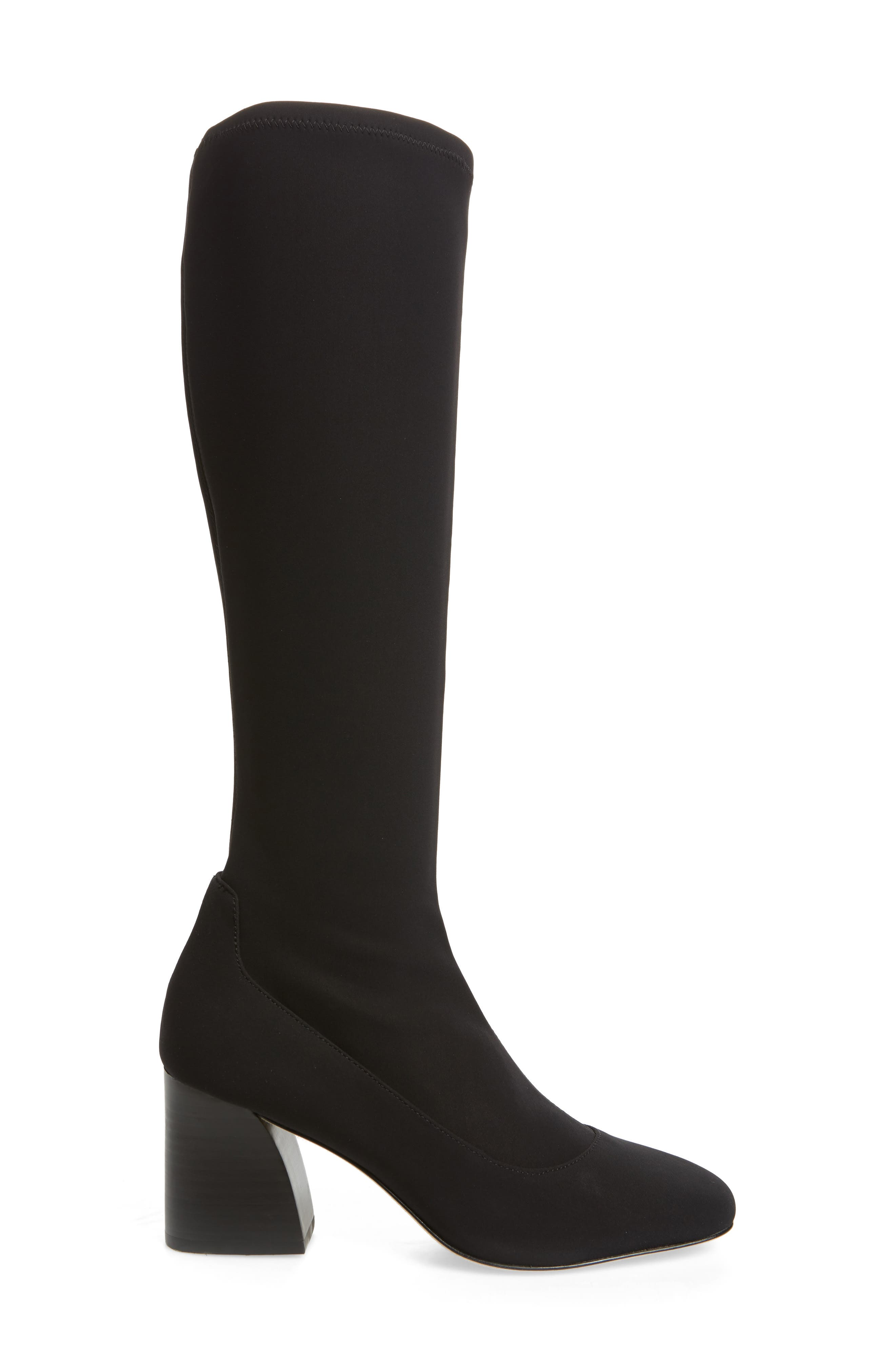 DONALD PLINER, Gerti Knee High Stretch Boot, Alternate thumbnail 3, color, 001