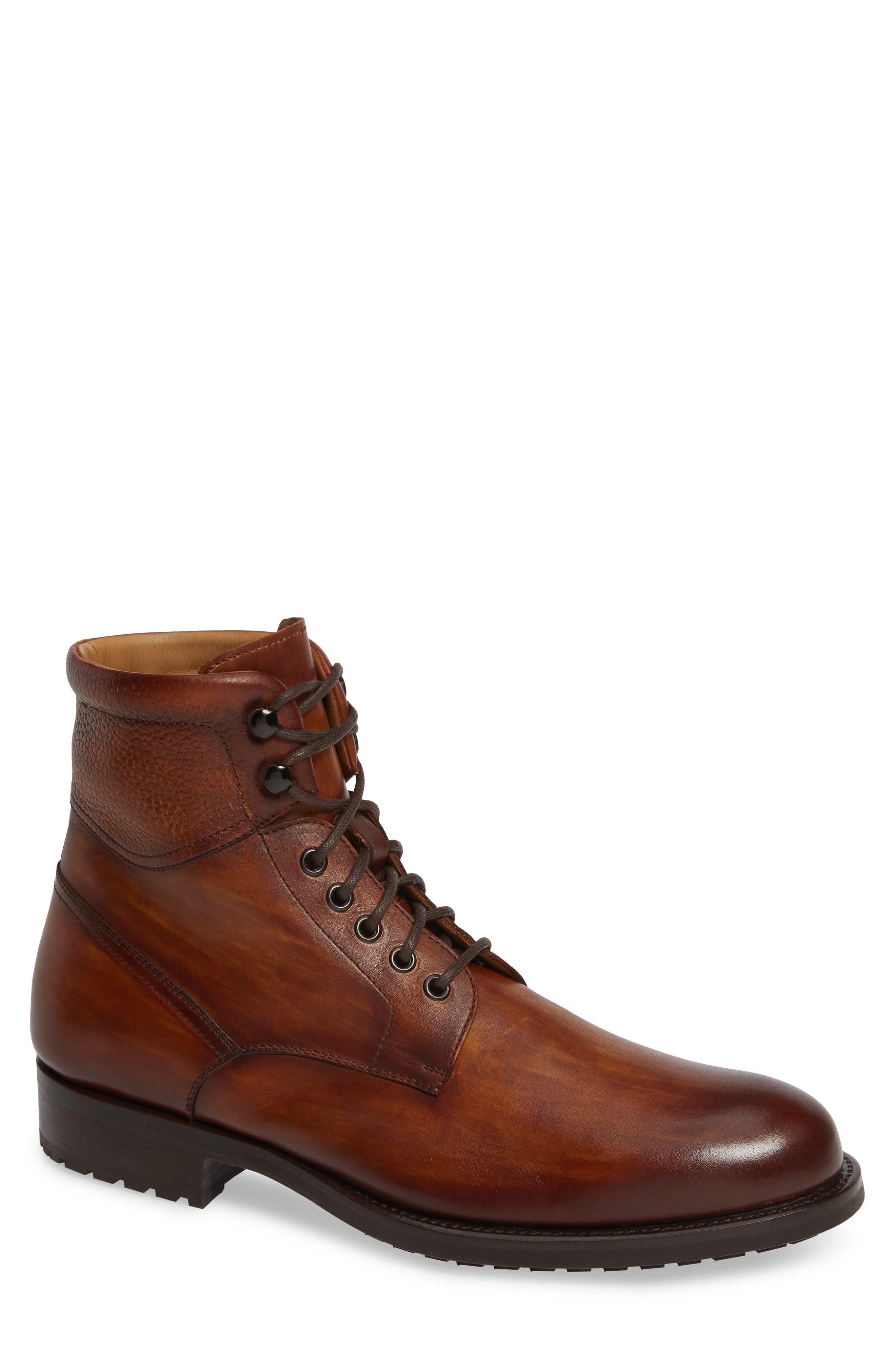 Magnanni Patton Plain Toe Boot, Brown