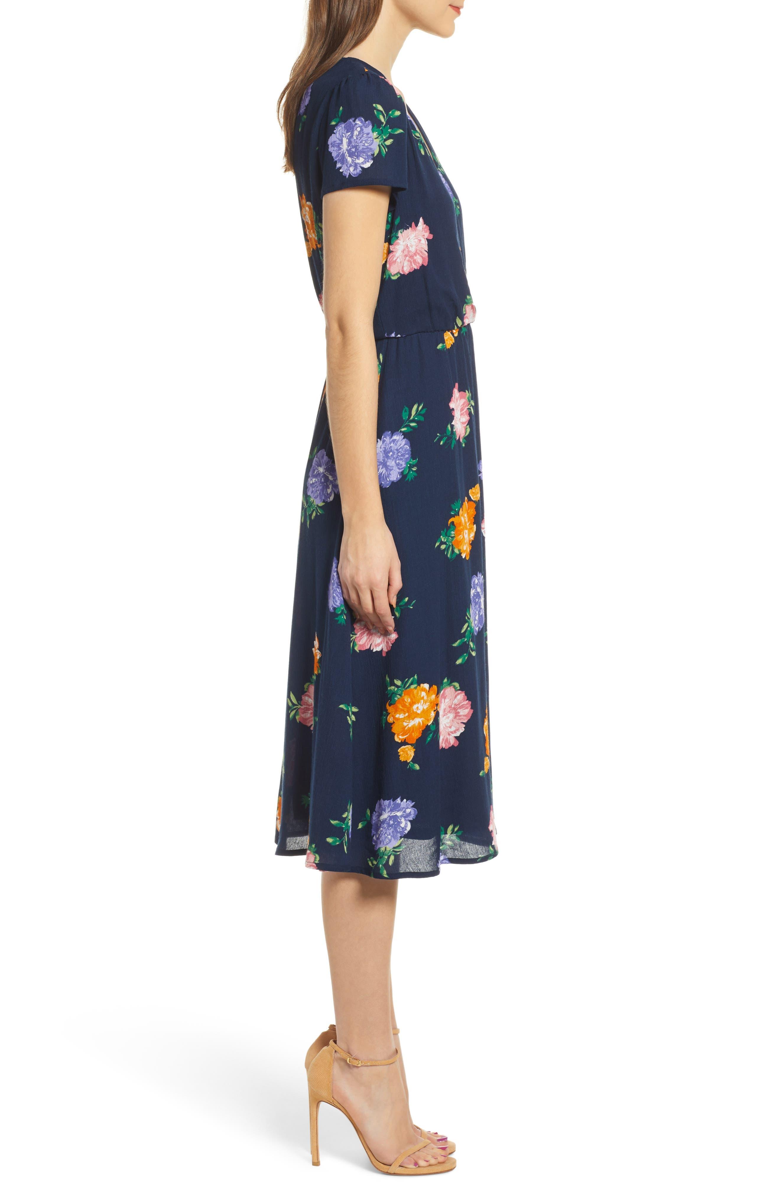 WAYF, Blouson Midi Dress, Alternate thumbnail 4, color, NAVY FLORAL