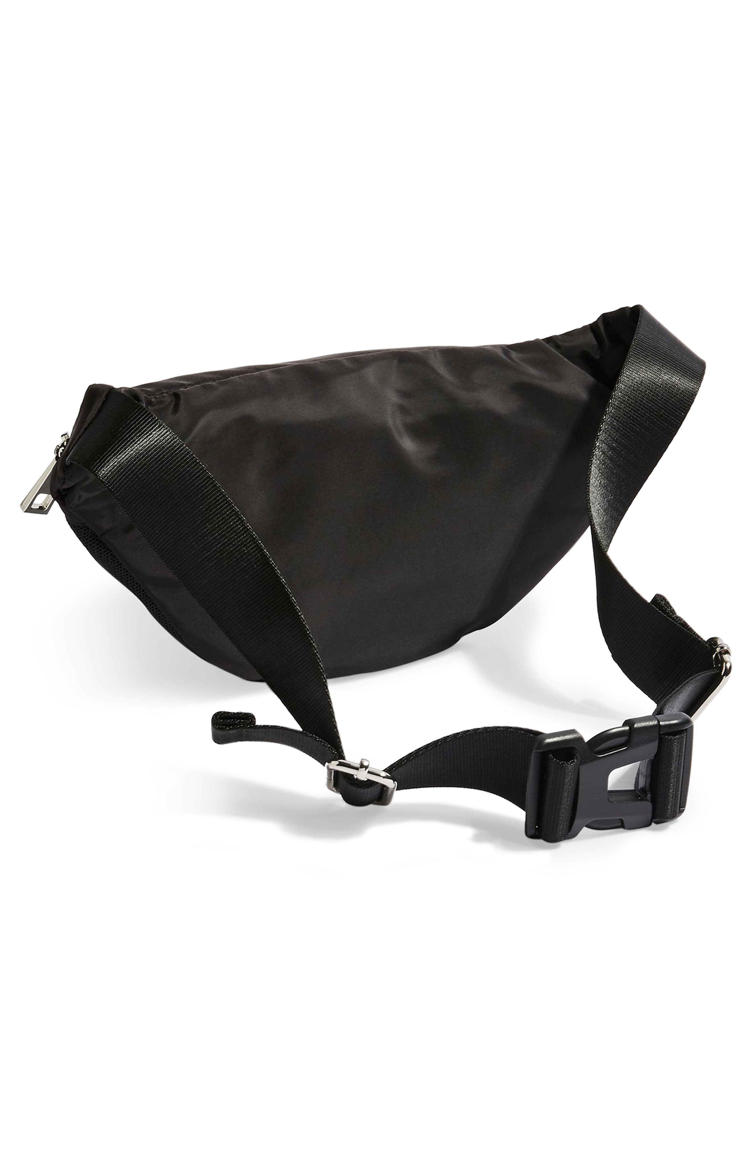 TOPSHOP, Warsaw Nylon Belt Bag, Alternate thumbnail 4, color, BLACK
