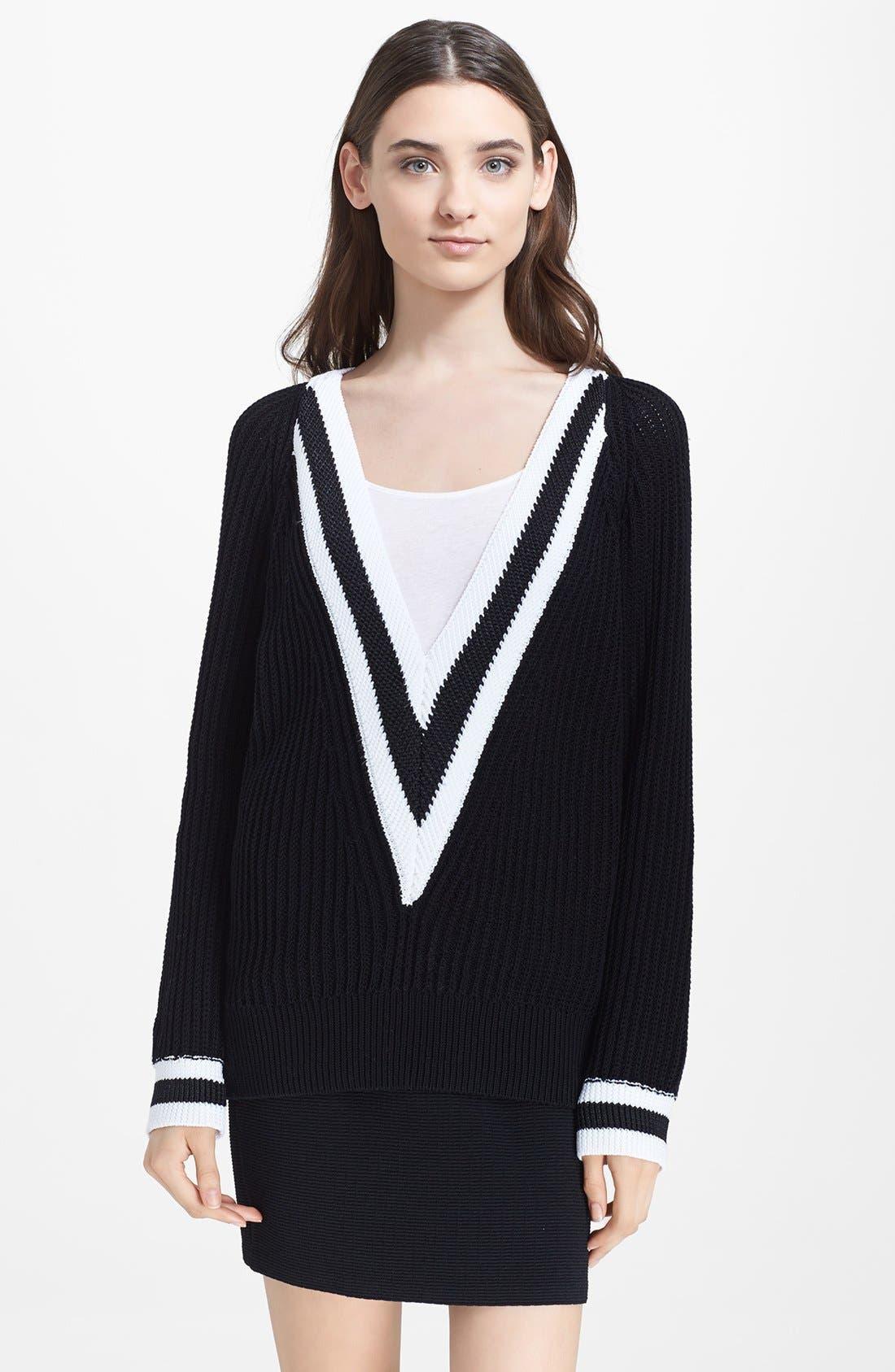 RAG & BONE, 'Talia' V-Neck Sweater, Main thumbnail 1, color, 001