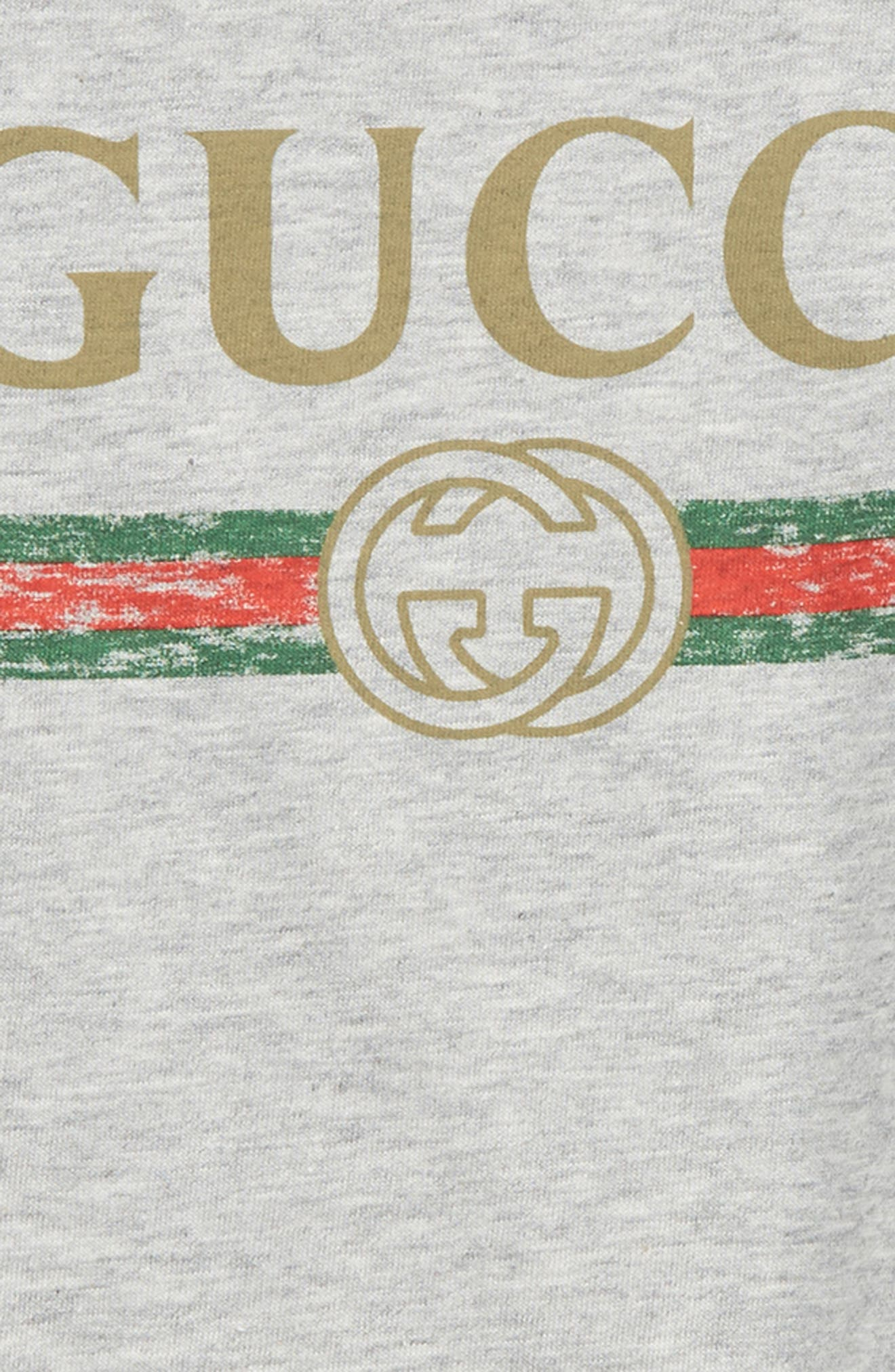 GUCCI, Logo T-Shirt, Alternate thumbnail 2, color, LIGHT GREY/ GREEN/ RED