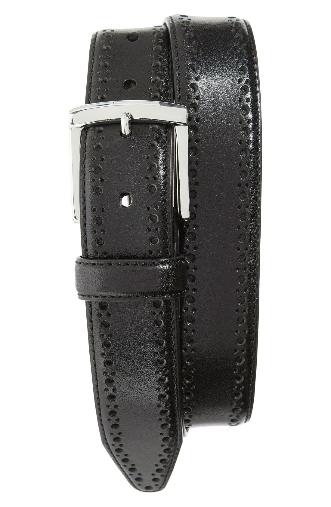 JOHNSTON & MURPHY, Perforated Leather Belt, Main thumbnail 1, color, BLACK