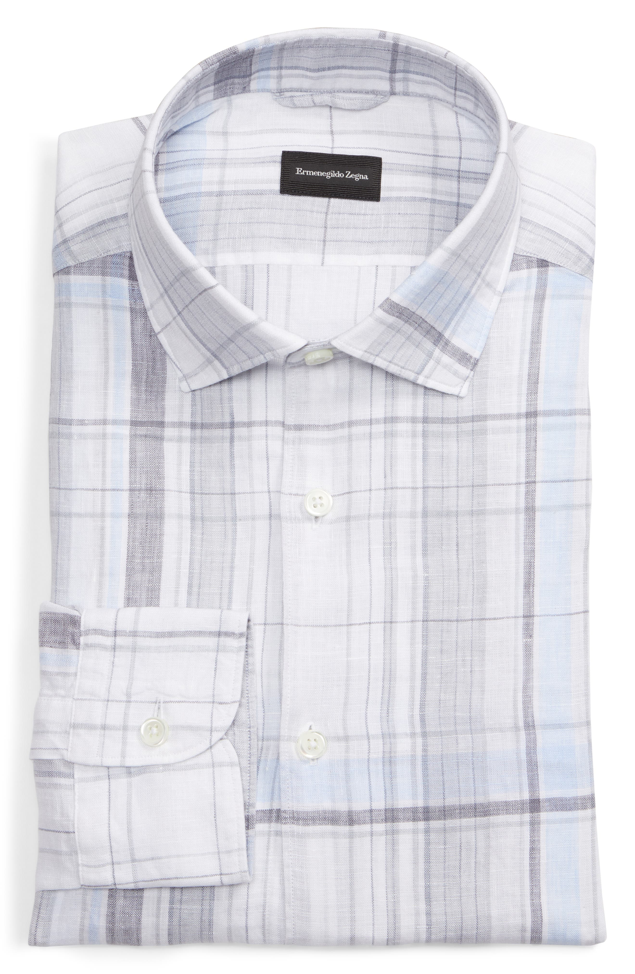 ERMENEGILDO ZEGNA, Regular Fit Plaid Linen Sport Shirt, Alternate thumbnail 5, color, BLUE