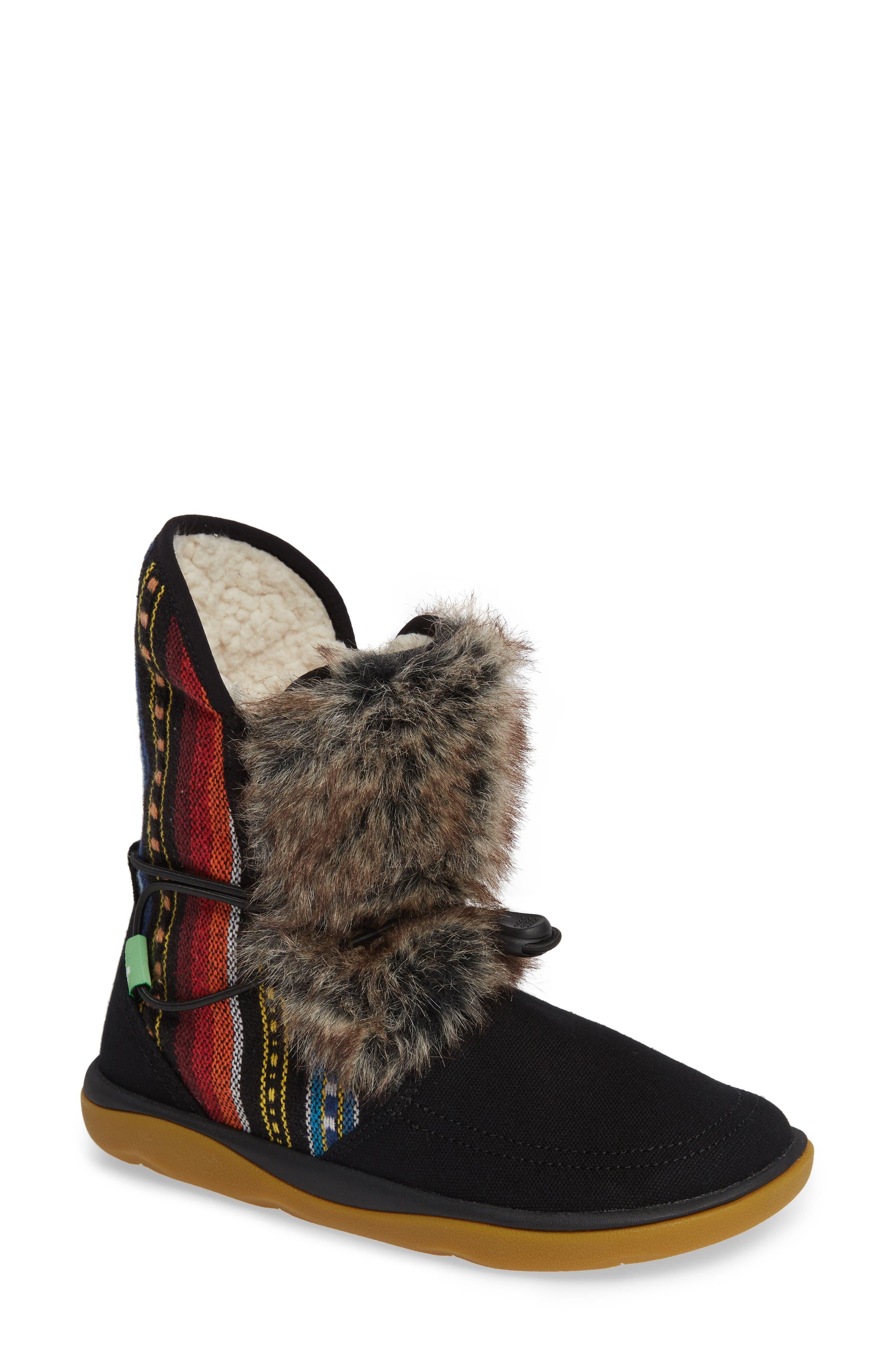 SANUK, Tripper Flurry Faux Fur Boot, Main thumbnail 1, color, BLACK