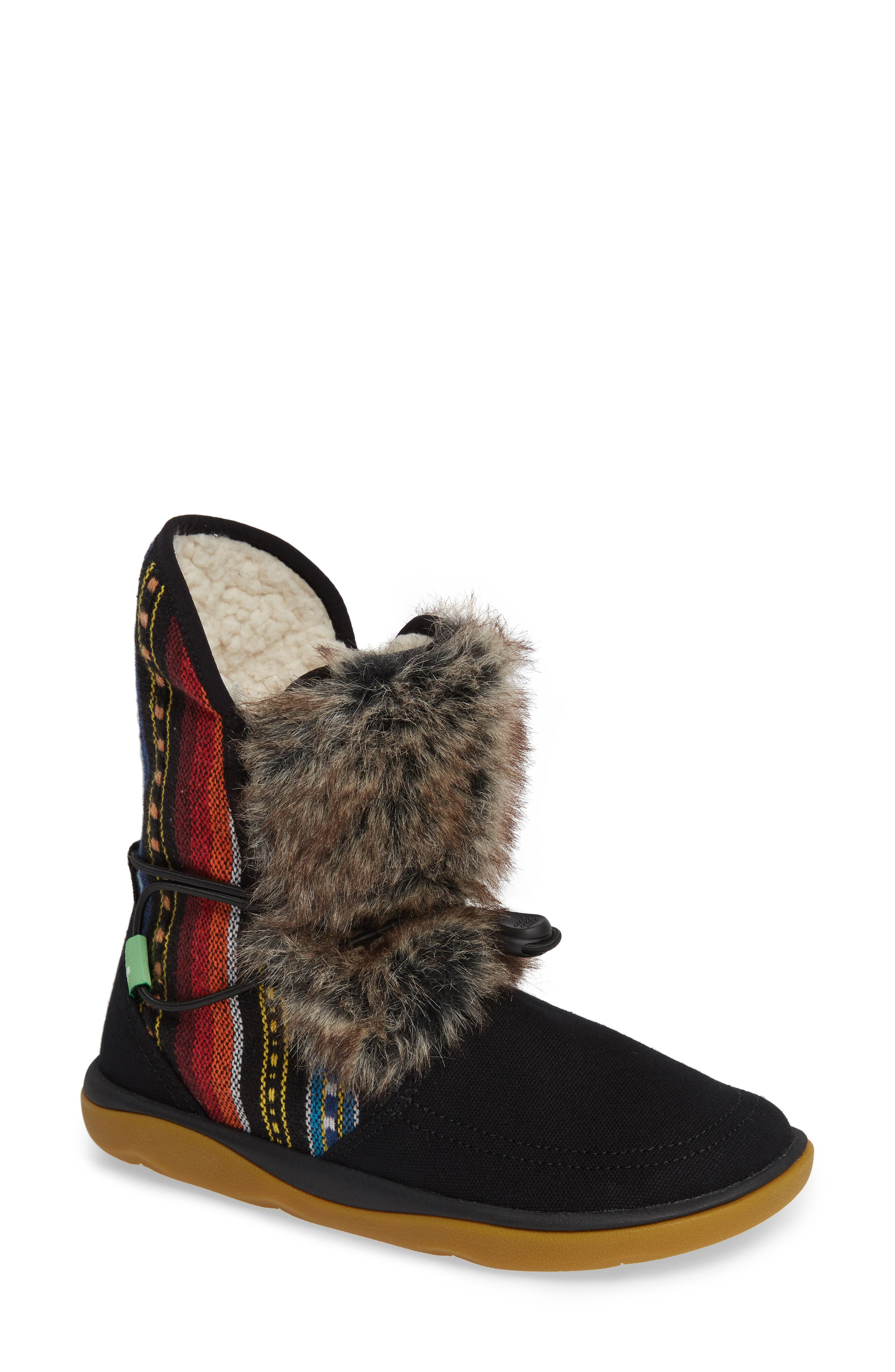 SANUK Tripper Flurry Faux Fur Boot, Main, color, BLACK