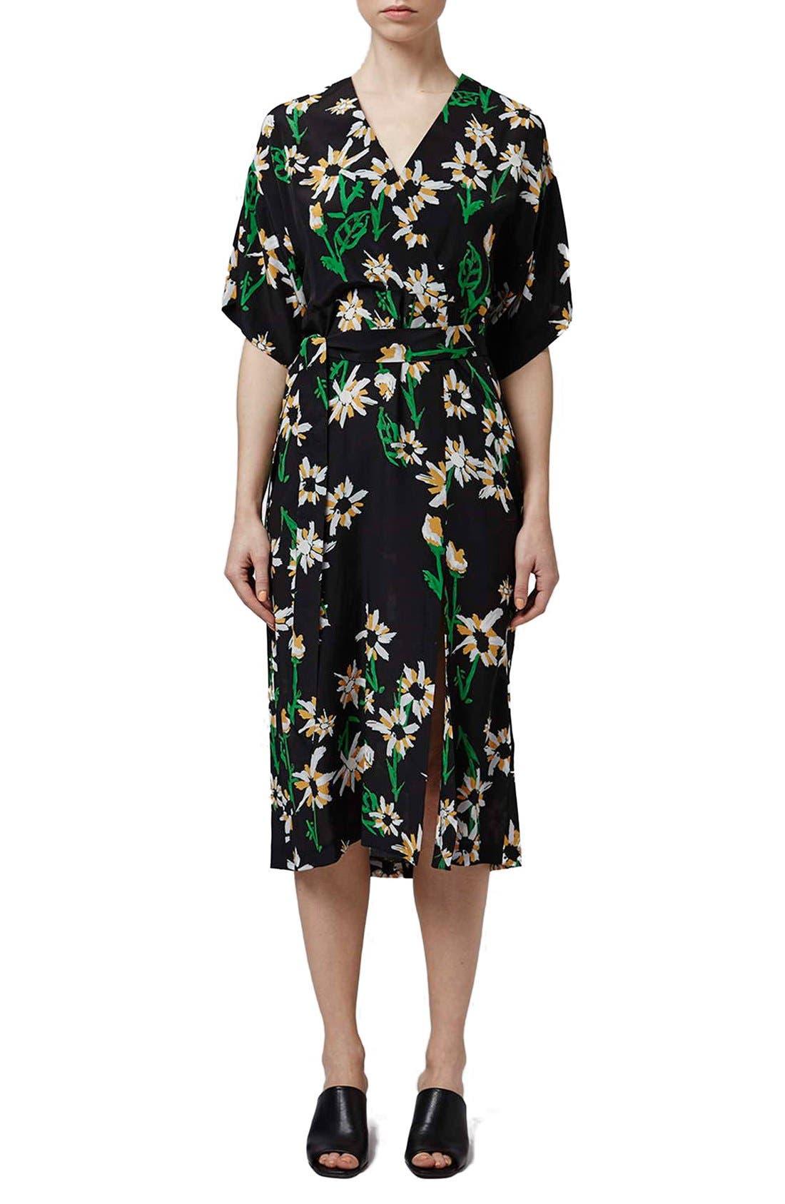 TOPSHOP BOUTIQUE, Daisy Print Silk Kimono Dress, Main thumbnail 1, color, 001
