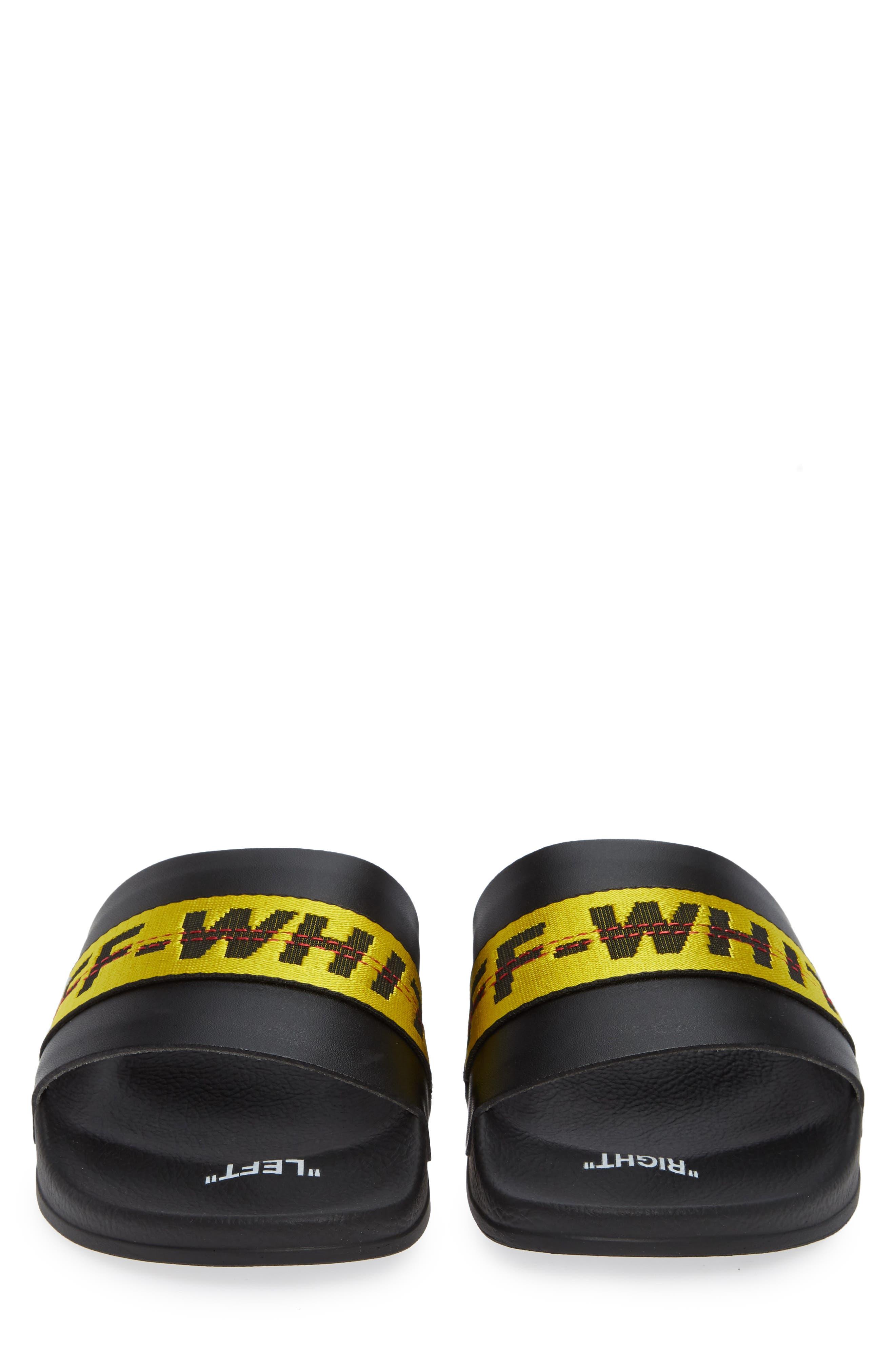 OFF-WHITE, Industrial Slide Sandal, Alternate thumbnail 4, color, 001
