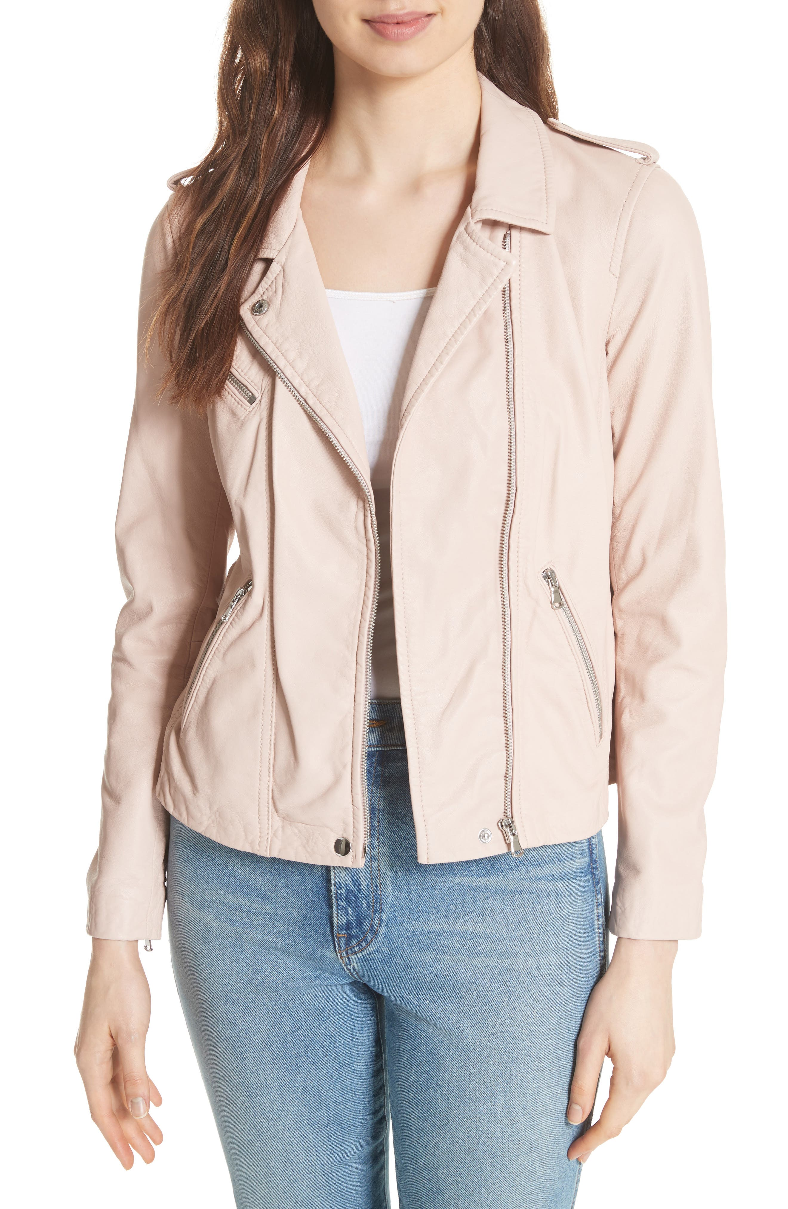 REBECCA TAYLOR Leather Moto Jacket, Main, color, NUDE