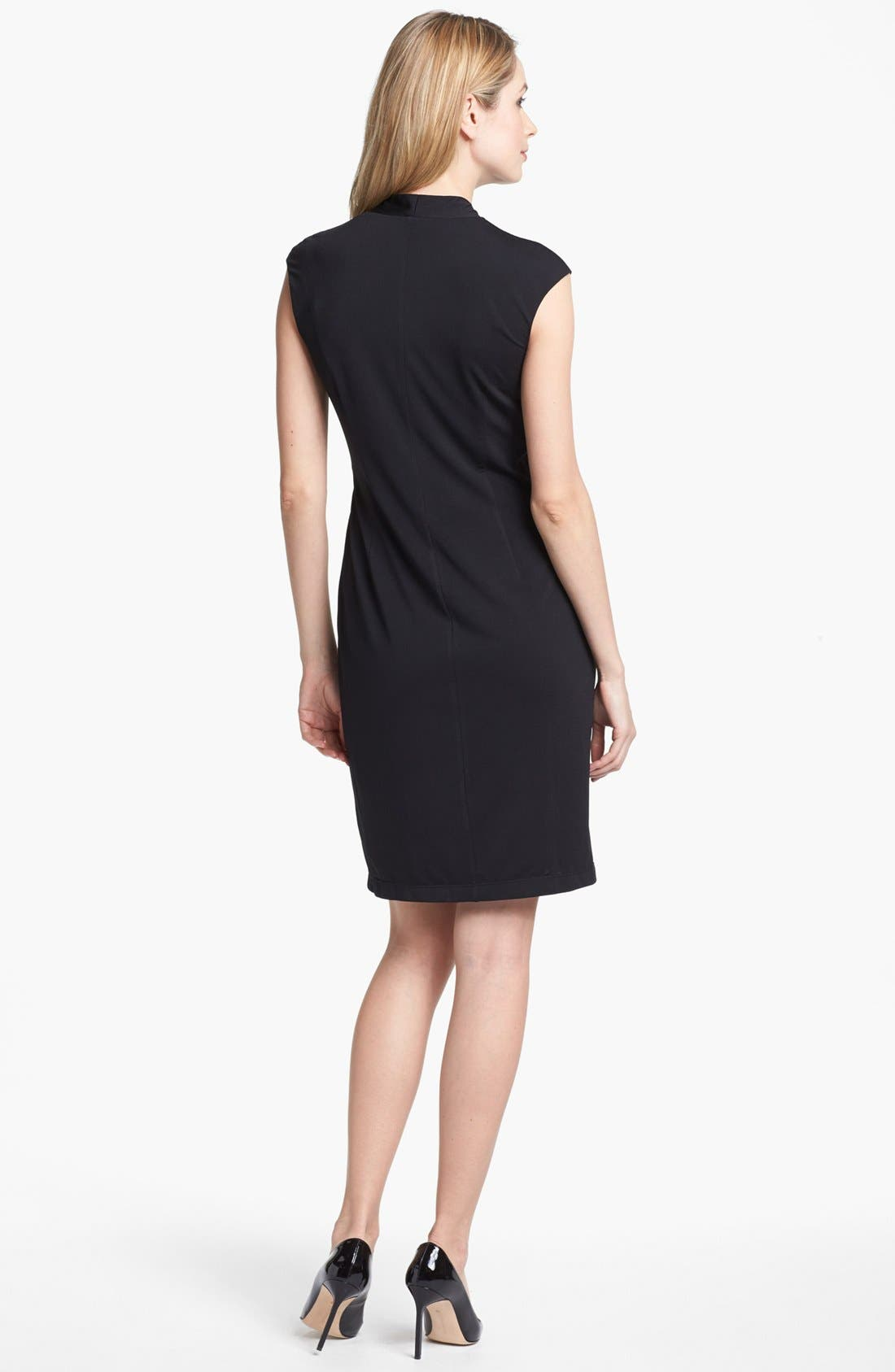 ELLEN TRACY, Ruched Jersey Sheath Dress, Alternate thumbnail 3, color, 001