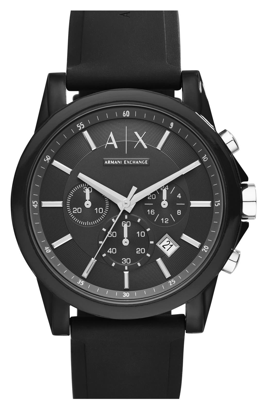 AX ARMANI EXCHANGE, Chronograph Silicone Strap Watch, 44mm, Main thumbnail 1, color, BLACK/ BLACK