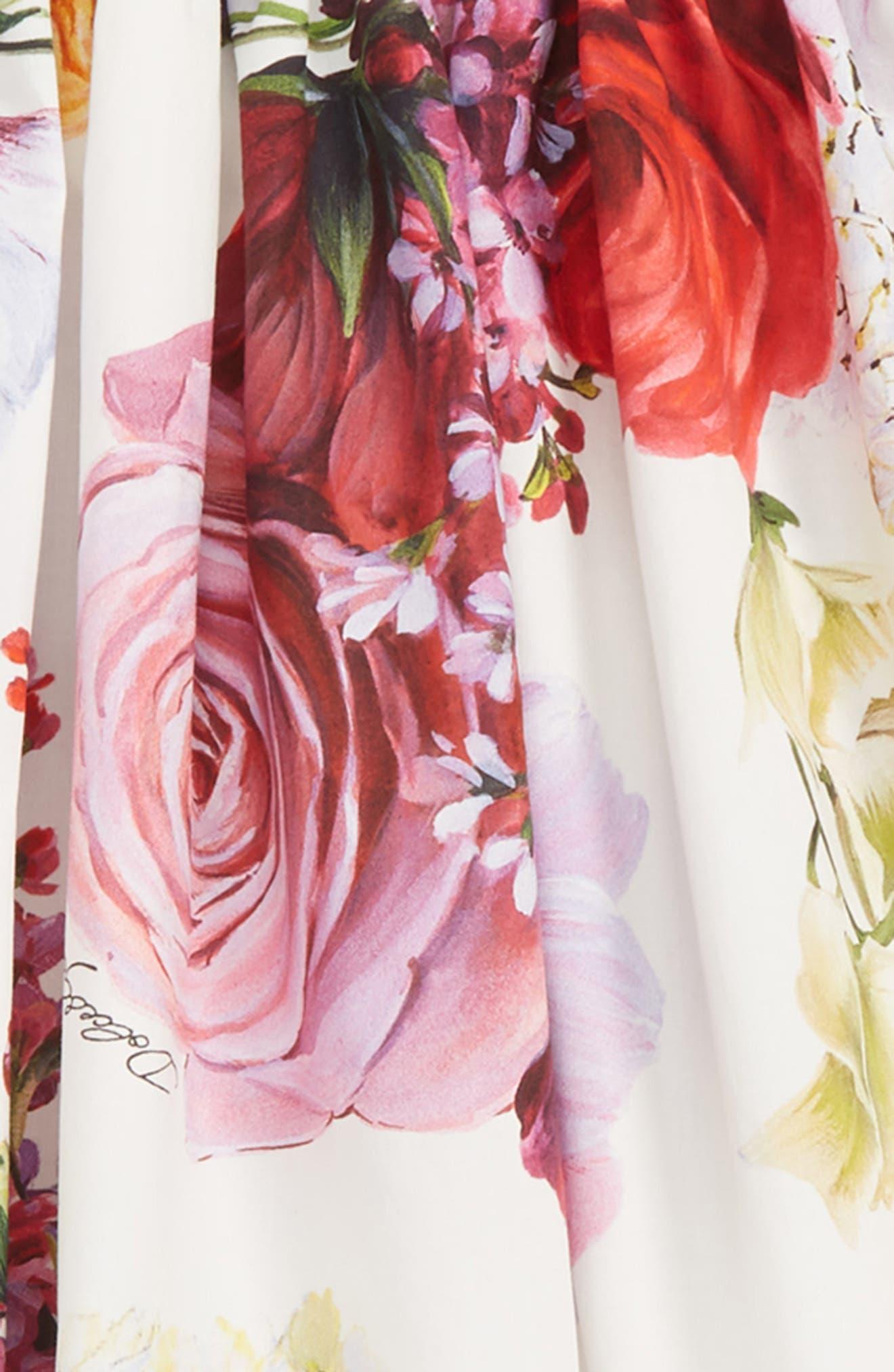 DOLCE&GABBANA, Abito Floral Fit & Flare Dress, Alternate thumbnail 2, color, ORTENSIE/ FIORI F NAT