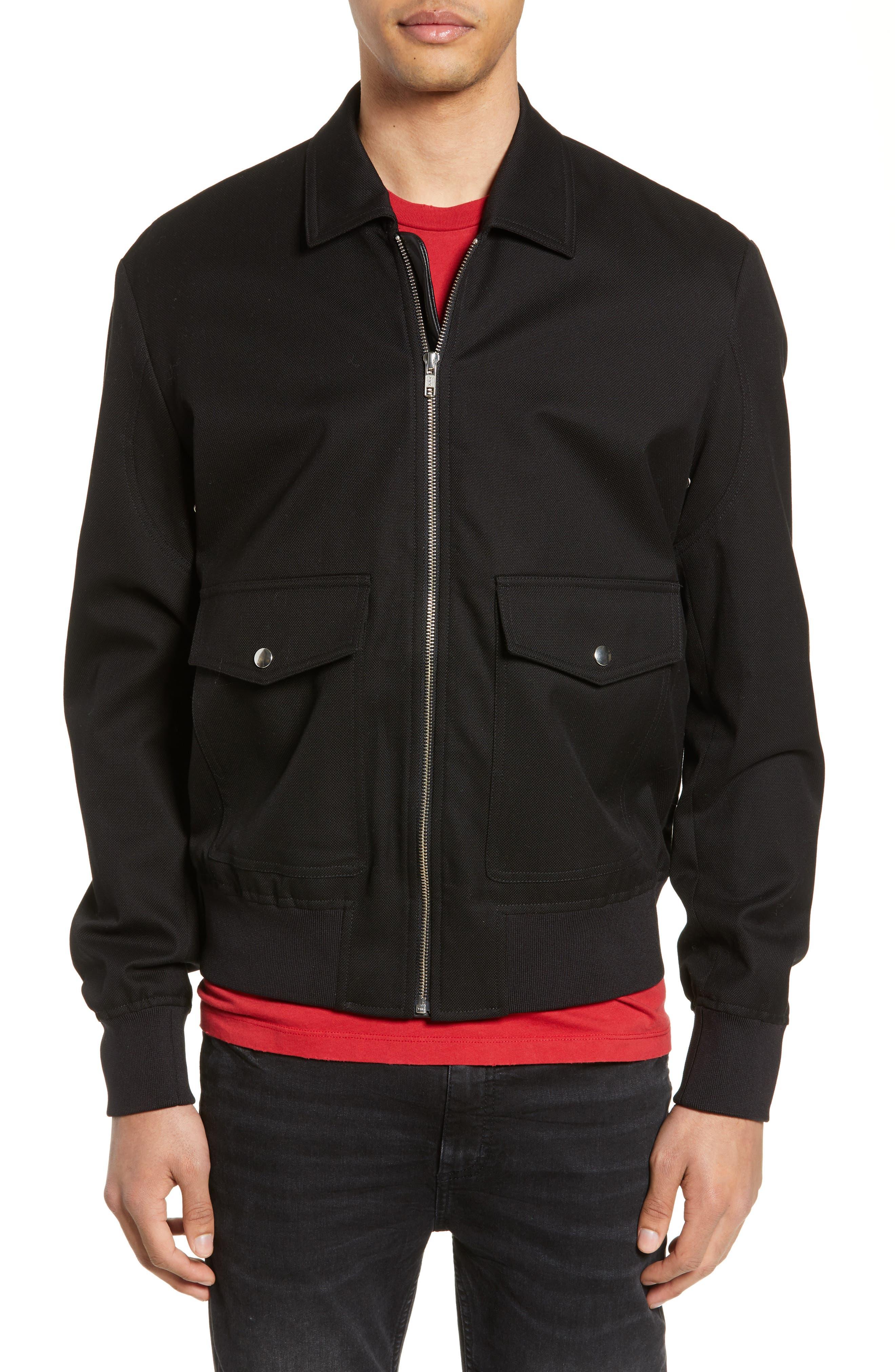THE KOOPLES, Leather Detail Jacket, Alternate thumbnail 4, color, BLACK