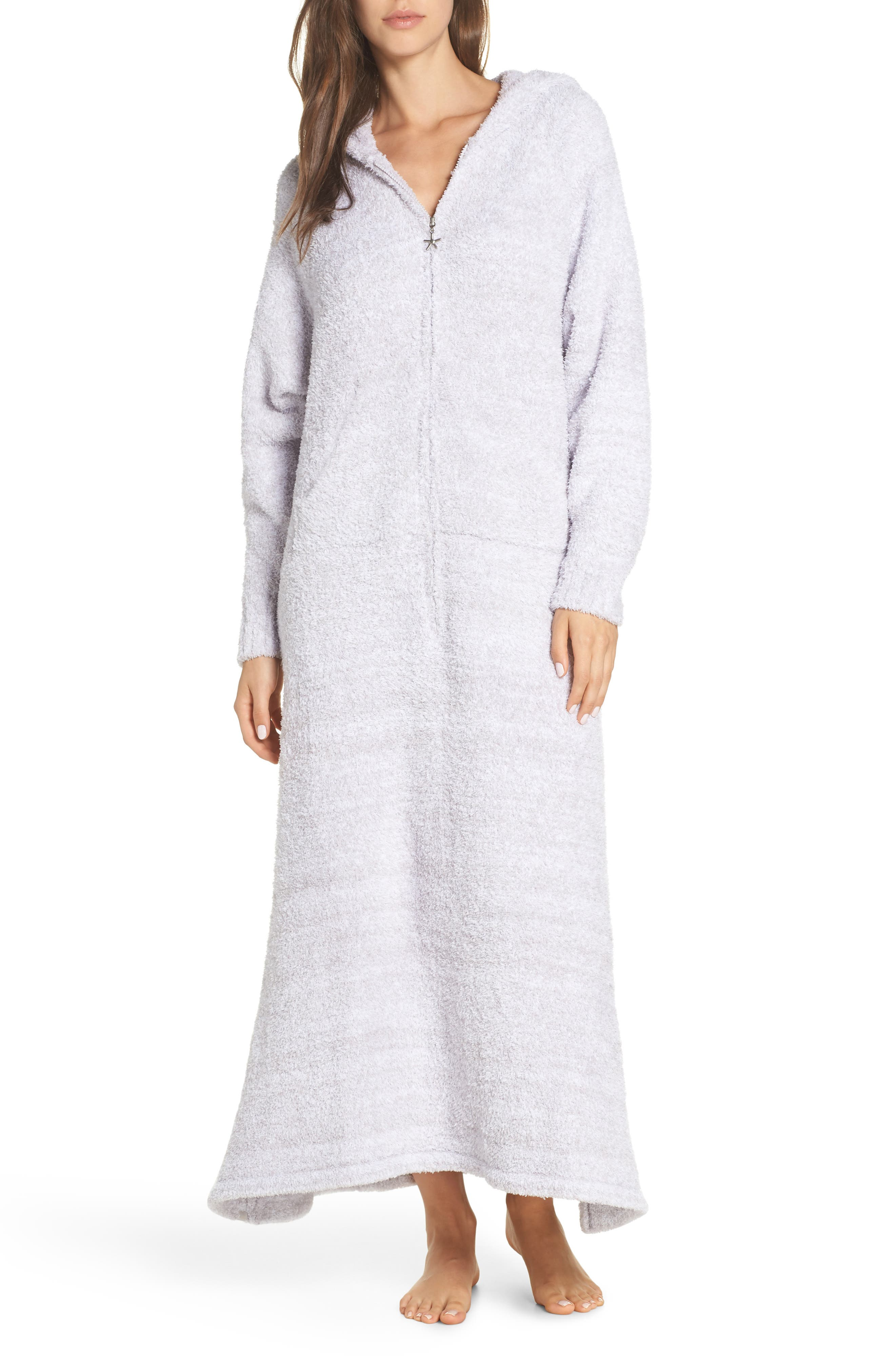 BAREFOOT DREAMS<SUP>®</SUP>, CozyChic<sup>®</sup> Hooded Zip Robe, Main thumbnail 1, color, OYSTER/ WHITE